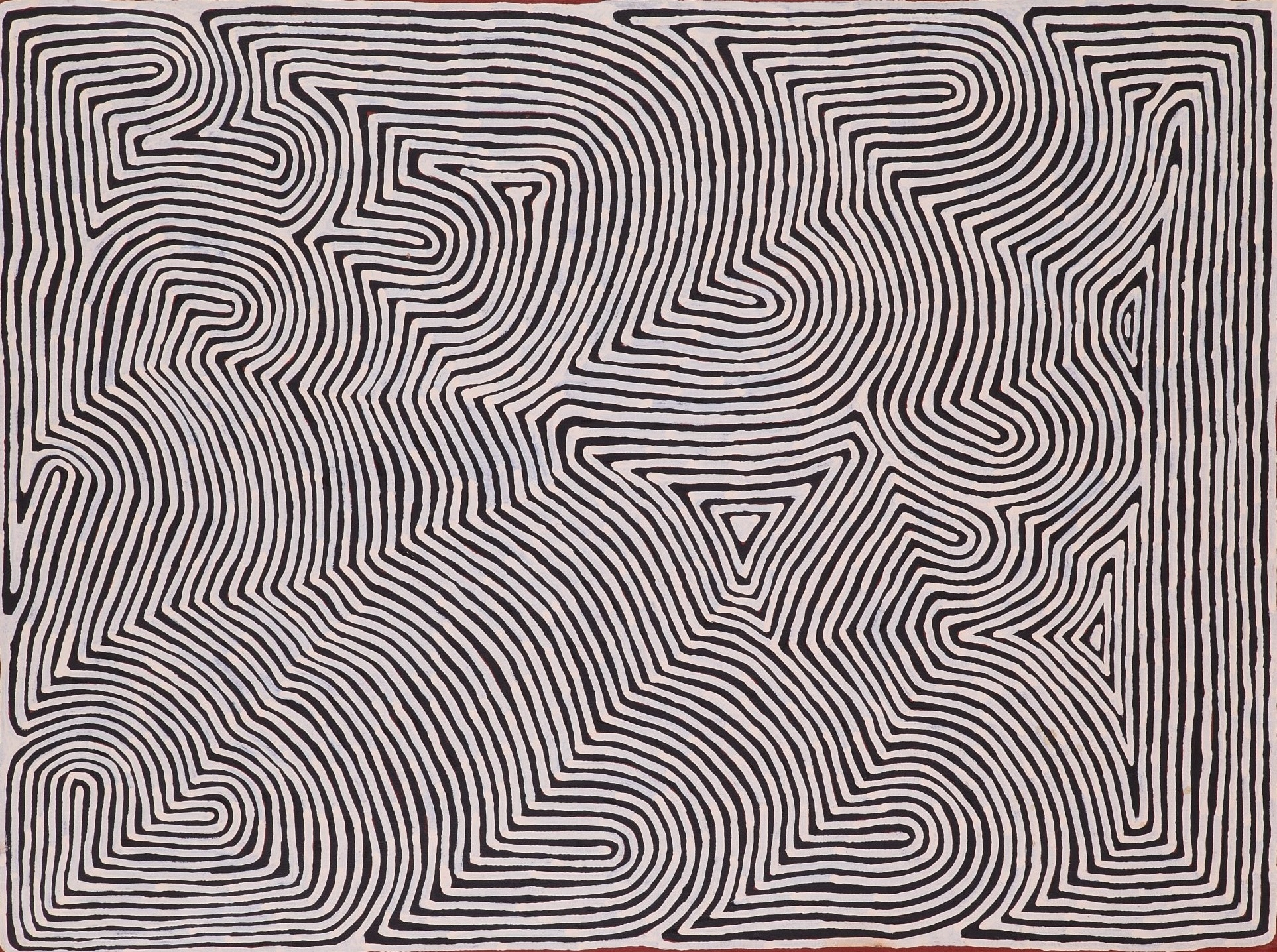 Ronnie Tjampitjinpa  Untitled  48 x 36 inches (122 x 91 cm) Acrylic on Belgian linen Papunya Tula Artists Catalog #RT1211003   EMAIL INQUIRY