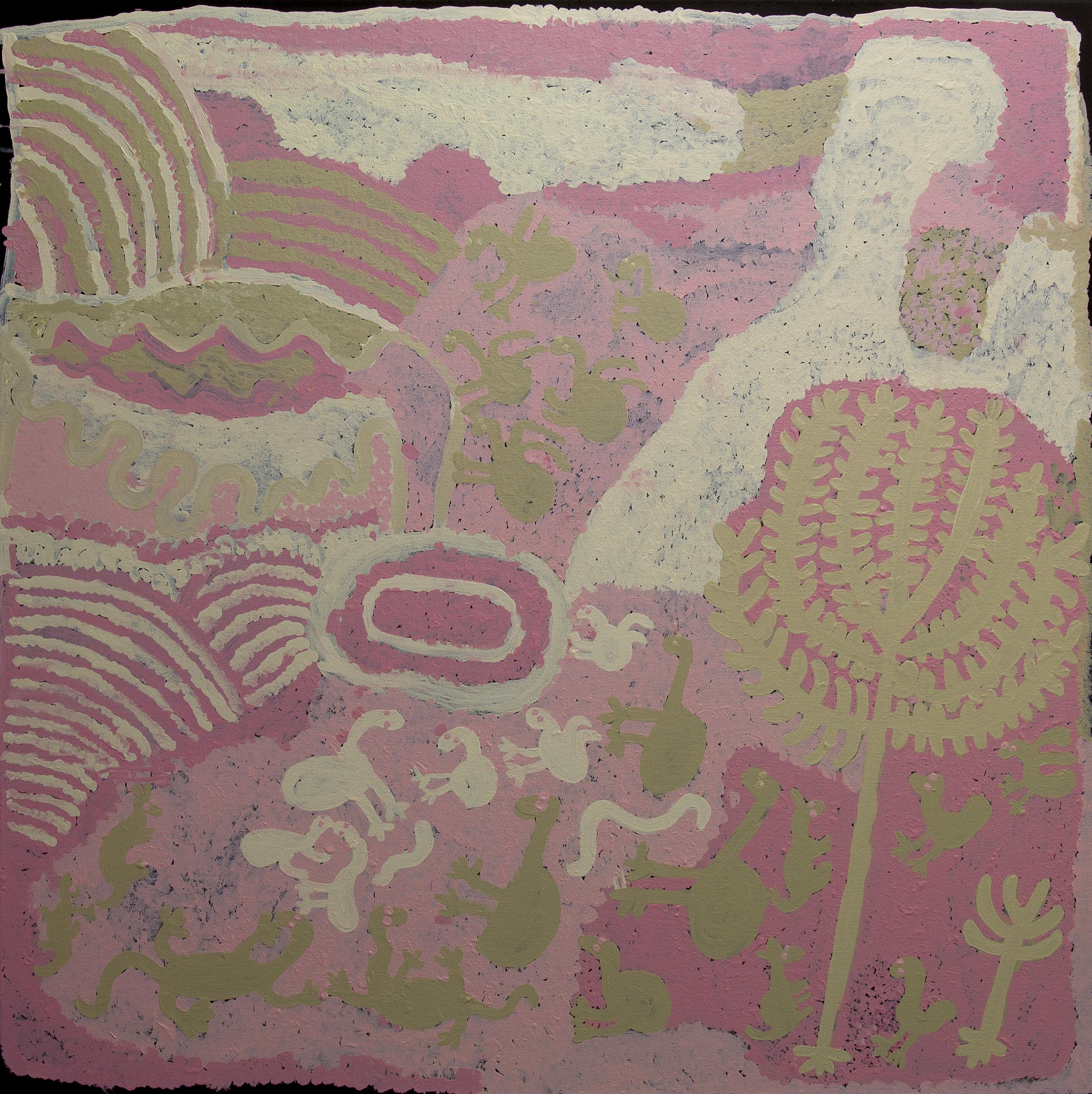 Malara, 2014  100 x 100 cm Acrylic on Canvas Ernabella Arts Catalog #216-14   SOLD     SOLD