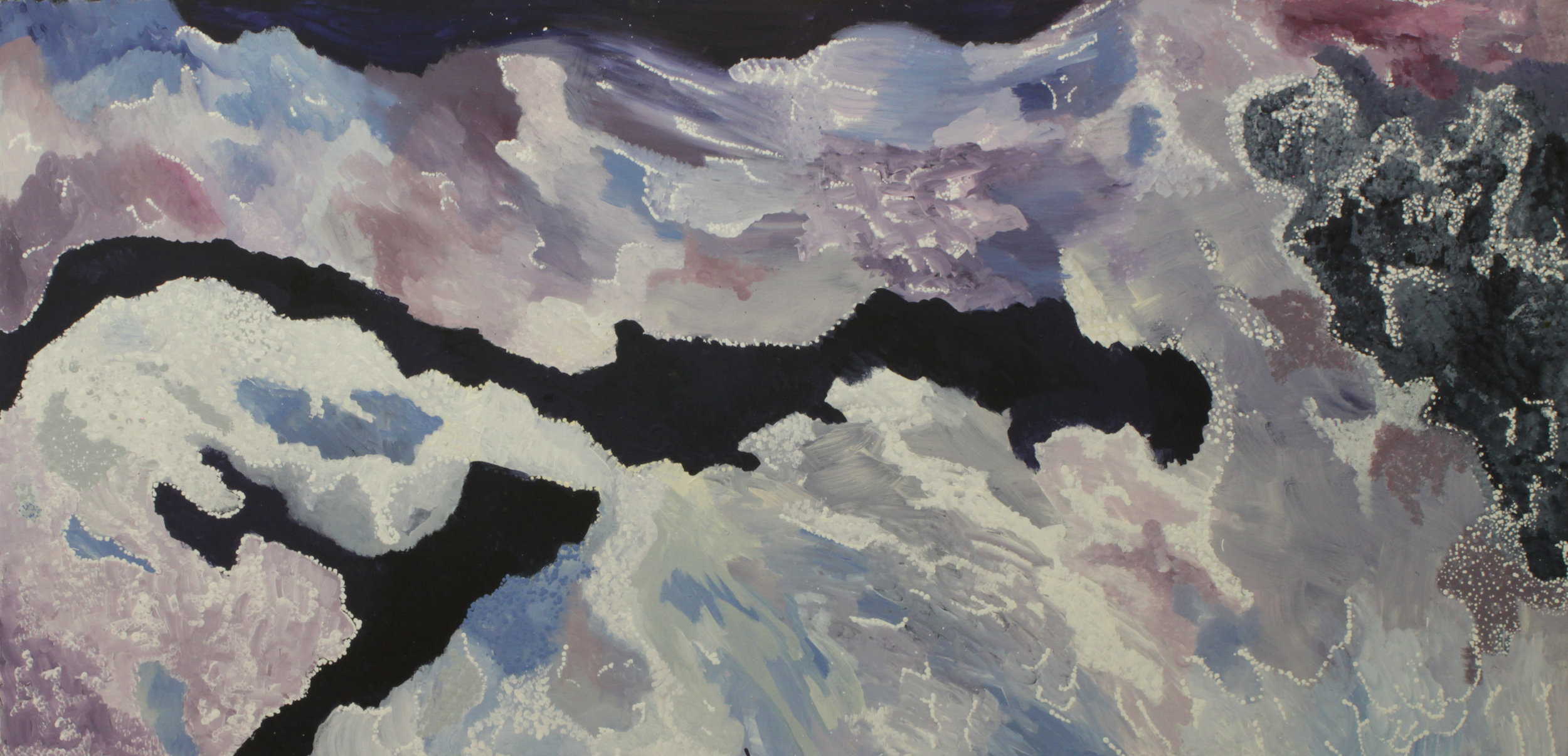 LANGALIKI LEWIS  Kapi Ngangkali Tjukurpa (Storm Cloud Story), 2017  840 x 1700mm Acrylic on Linen Catalog #408-17   EMAIL INQUIRY