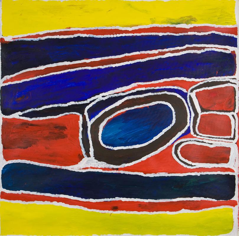 Warkurtu Cory Surprise  Pitmarlu   120 x 120 cm Acrylic on canvas Catalog #396-08   EMAIL INQUIRY