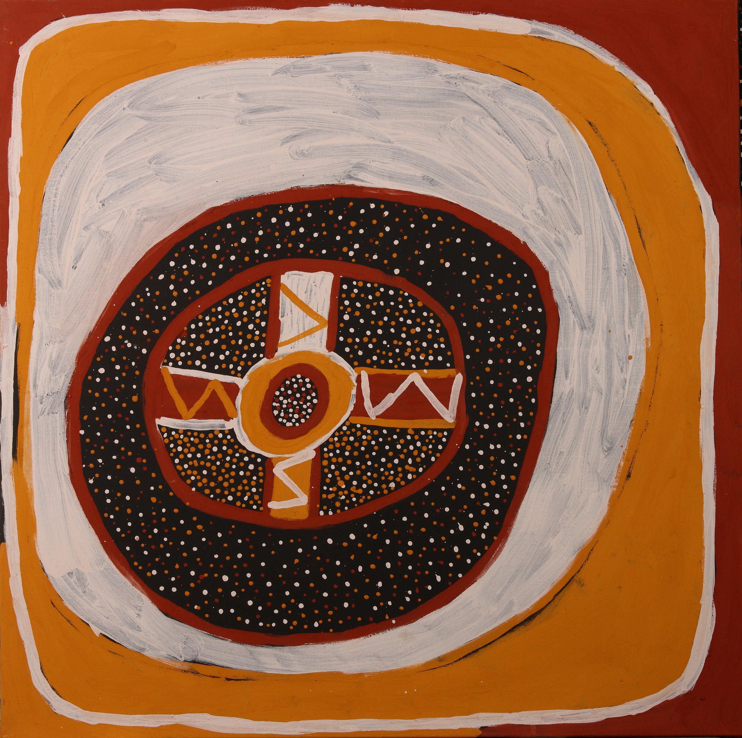 Kulama, 2012  natural earth pigments on linen 47 x 47 inches (120 x 120 cm)   Jilamara Arts & Crafts Catalog #20-12     EMAIL INQUIRY