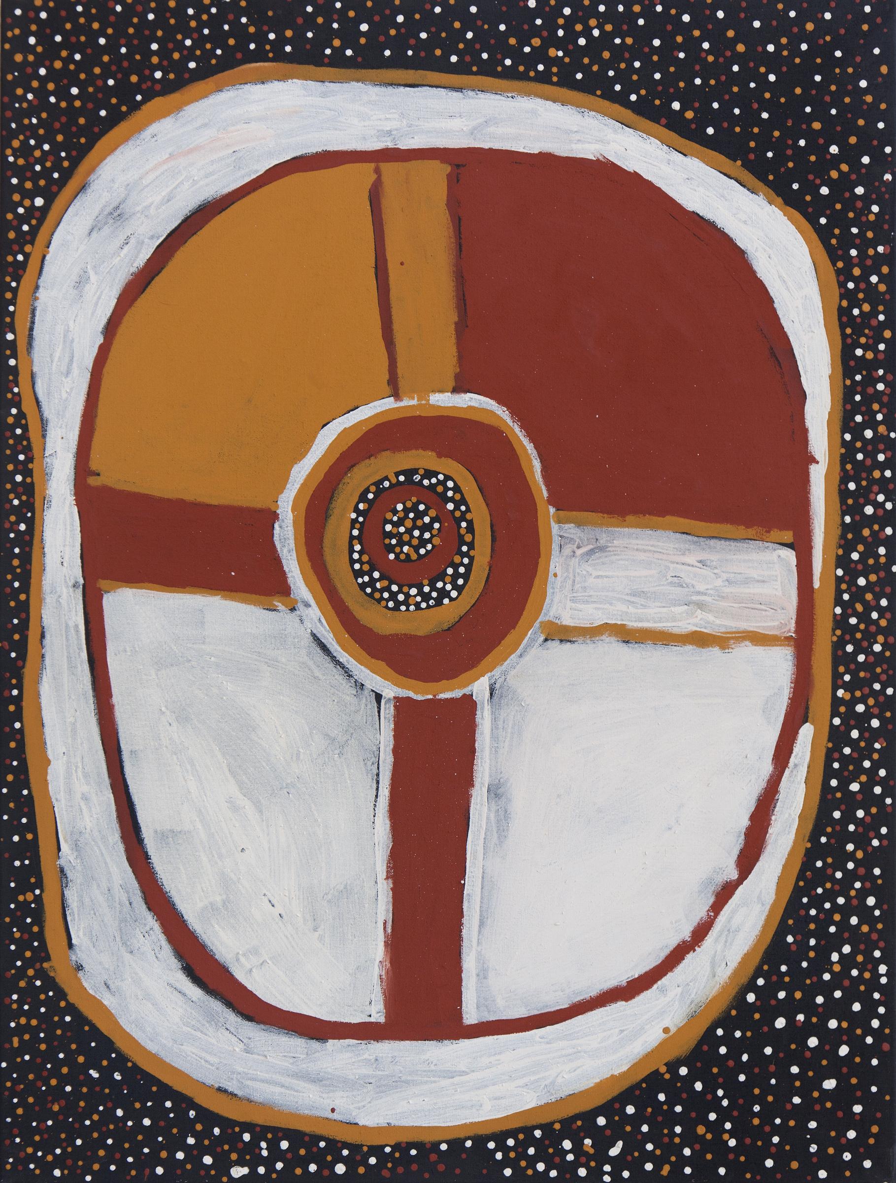 Kulama, 2012  natural earth pigments on linen 47 x 35 inches (120 x 90 cm)  Jilamara Jilamara Arts & Crafts Catalog #609-12     EMAIL INQUIRY