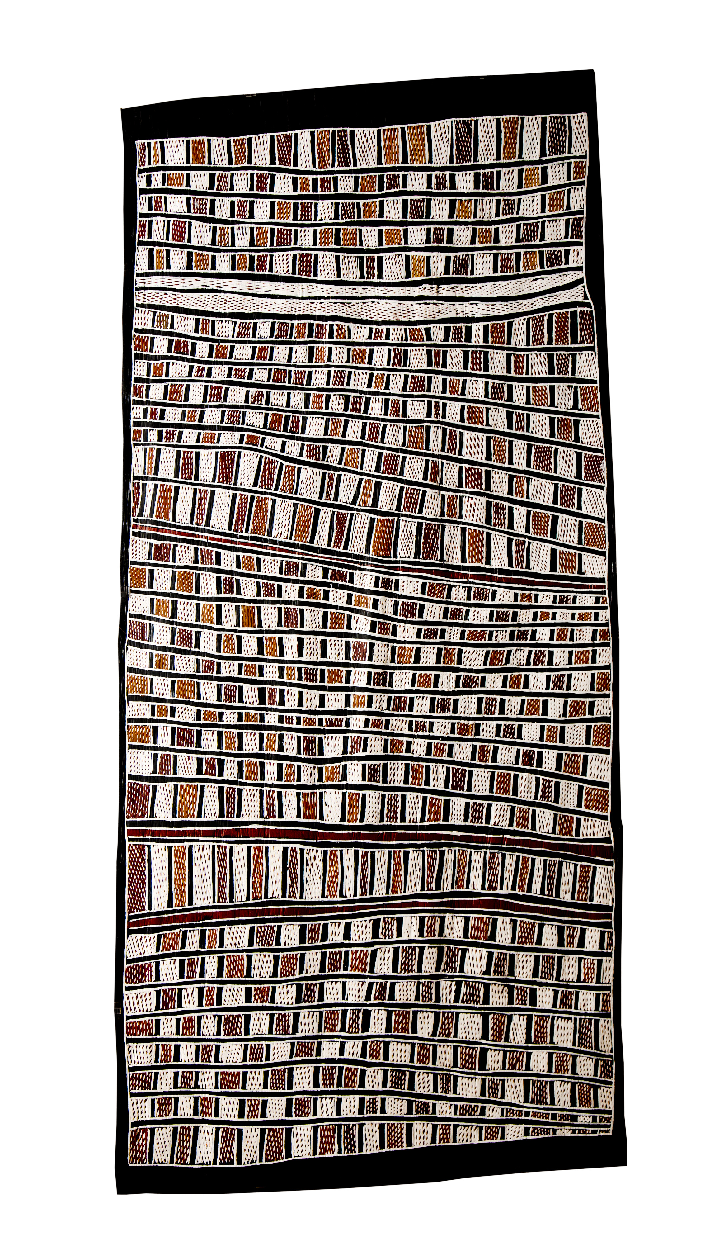 Nongirrnga Marawili  Fish Traps  Natural earth pigments on bark 167 x 79cm Buku Larrnggay Mulka #3118O   EMAIL INQUIRY