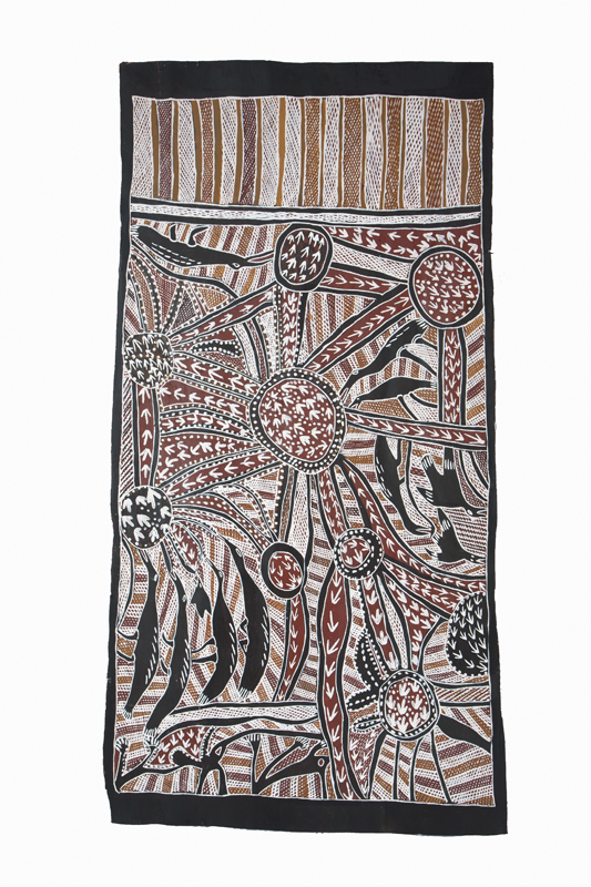 Nonggirrnga Marawili  Hunting  Natural earth pigments on bark 73 x 142cm  Buku Larrnggay Mulka #3128T   EMAIL INQUIRY