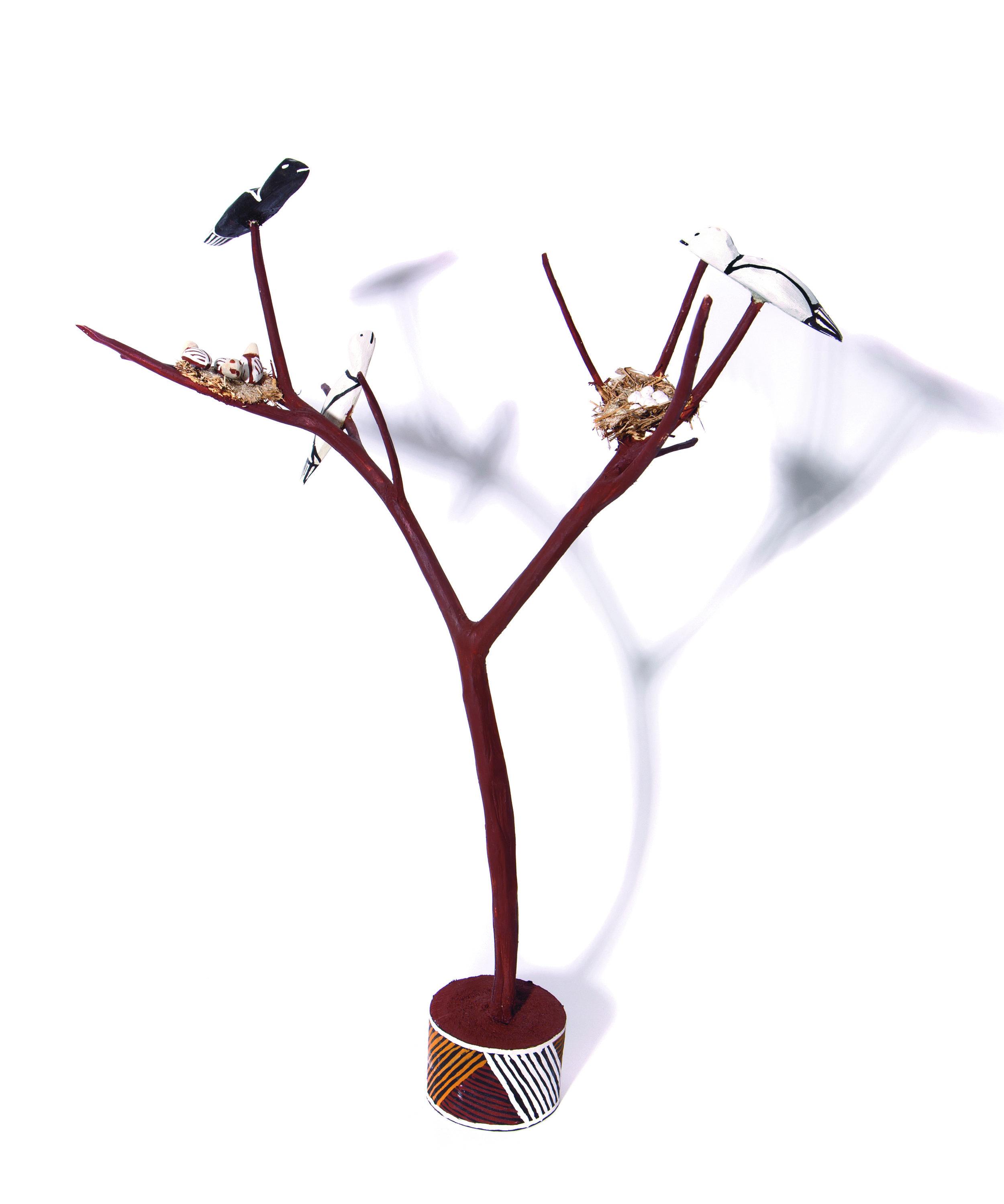 Naminapu Maymuru-White  Bird Tree  Natural earth pigments on hibiscus 60 cm Buku Larrnggay Mulka #4265M   EMAIL INQUIRY