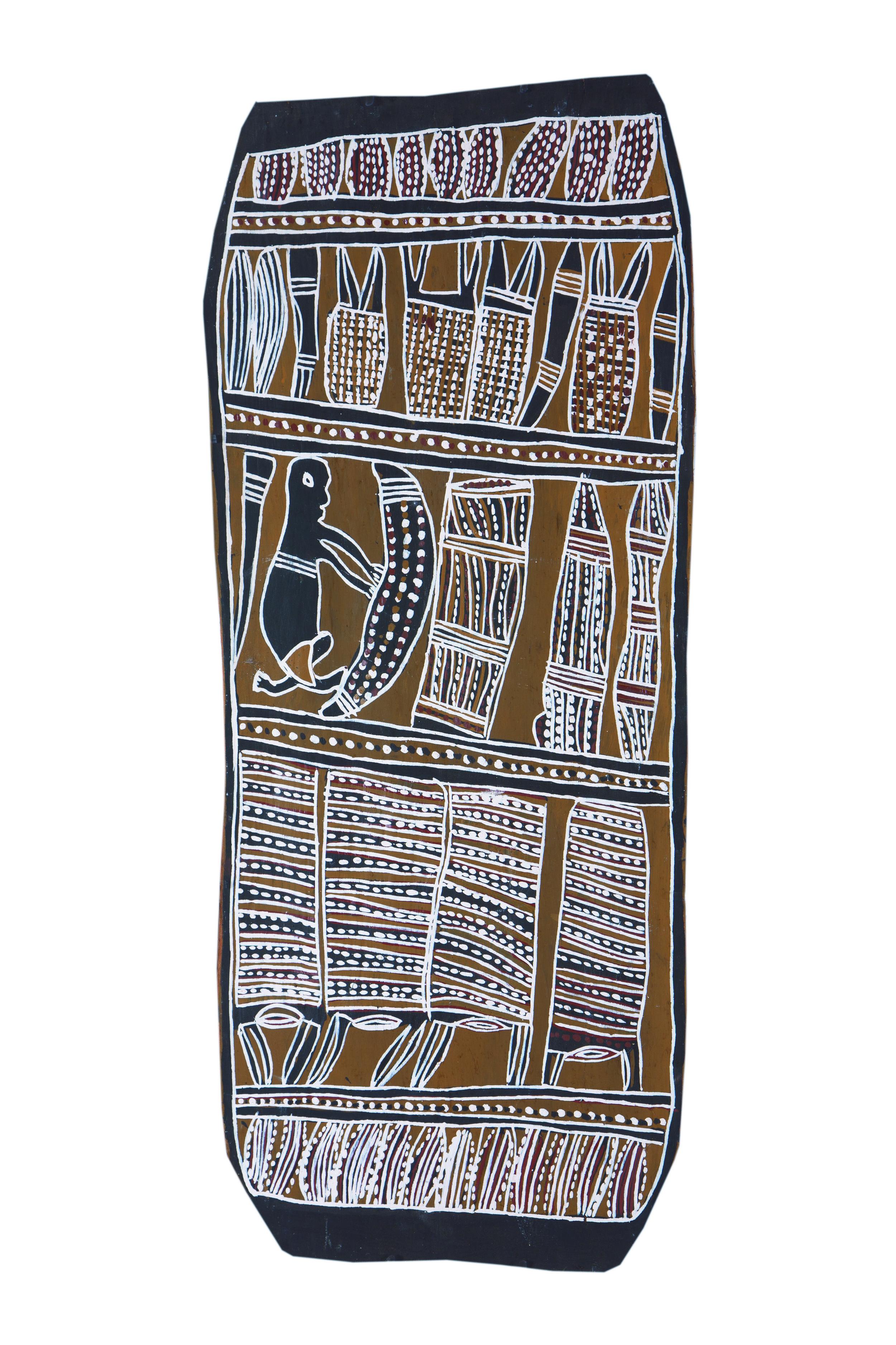 Nonggirrnga Marawili  Hunting  Natural earth pigments on bark 34 x 81cm  Buku Larrnggay Mulka #4026I   EMAIL INQUIRY
