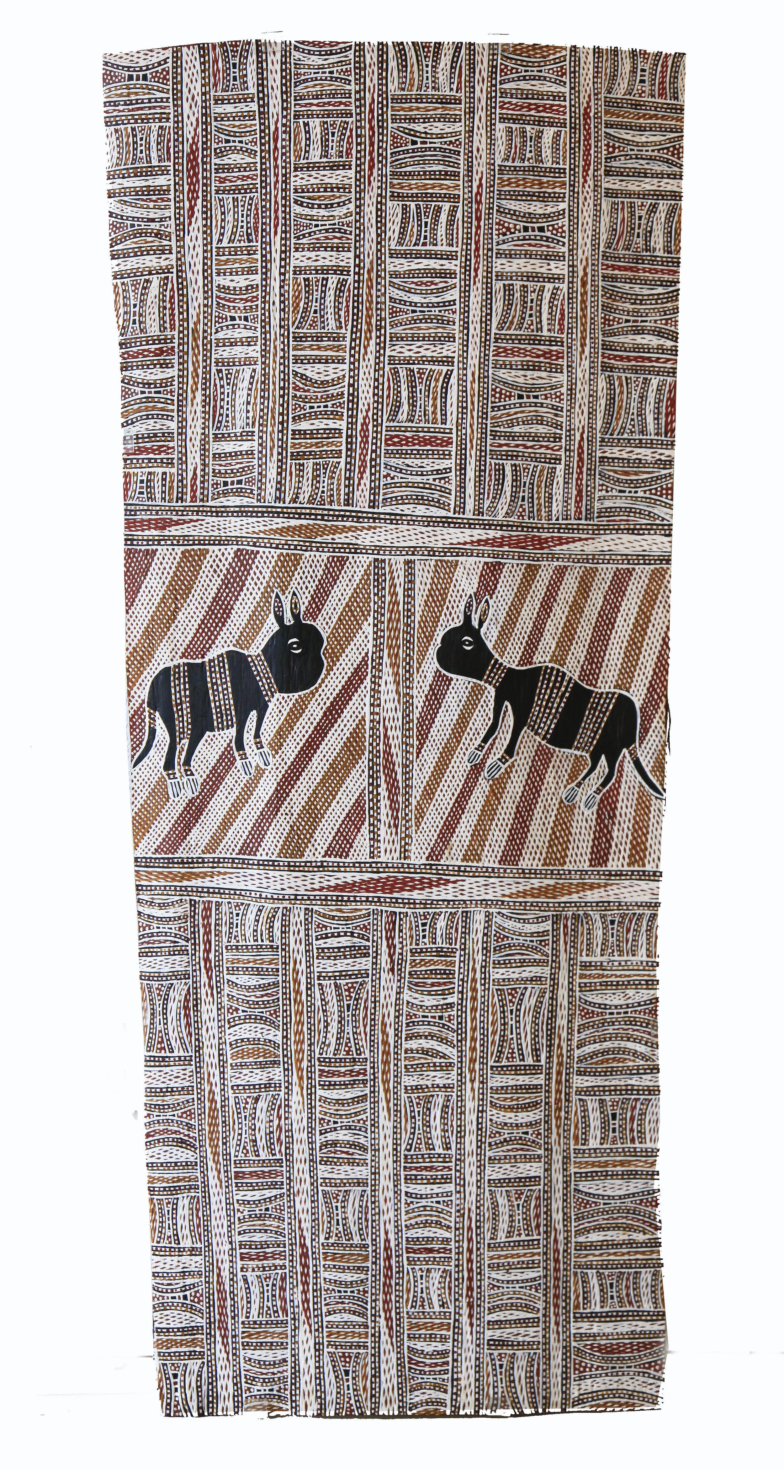 Wolpa Wanambi  Untitled  Natural earth pigments on bark 104 x 43cm  Buku Larrnggay Mulka #3381S   EMAIL INQUIRY