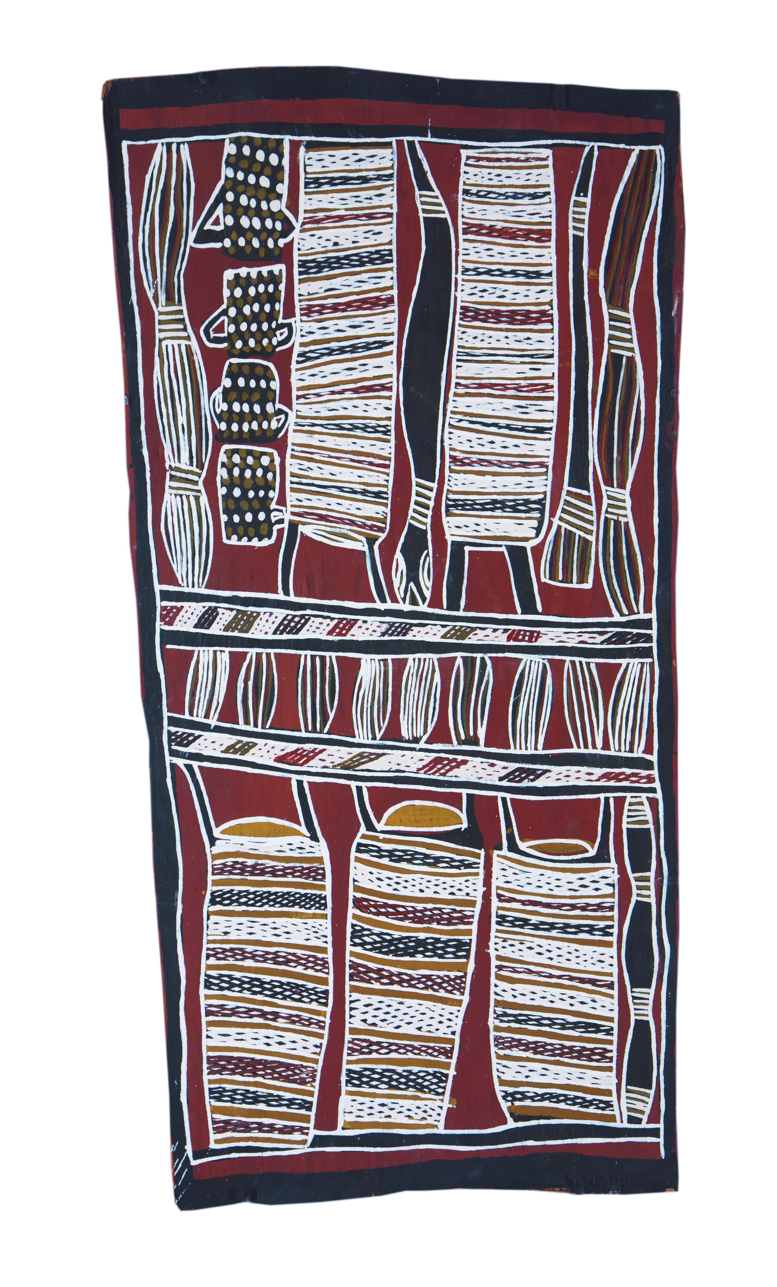 Nonggirrnga Marawili  Hunting  Natural earth pigments on bark 71 x 36cm  Buku Larrnggay Mulka #4049A   EMAIL INQUIRY