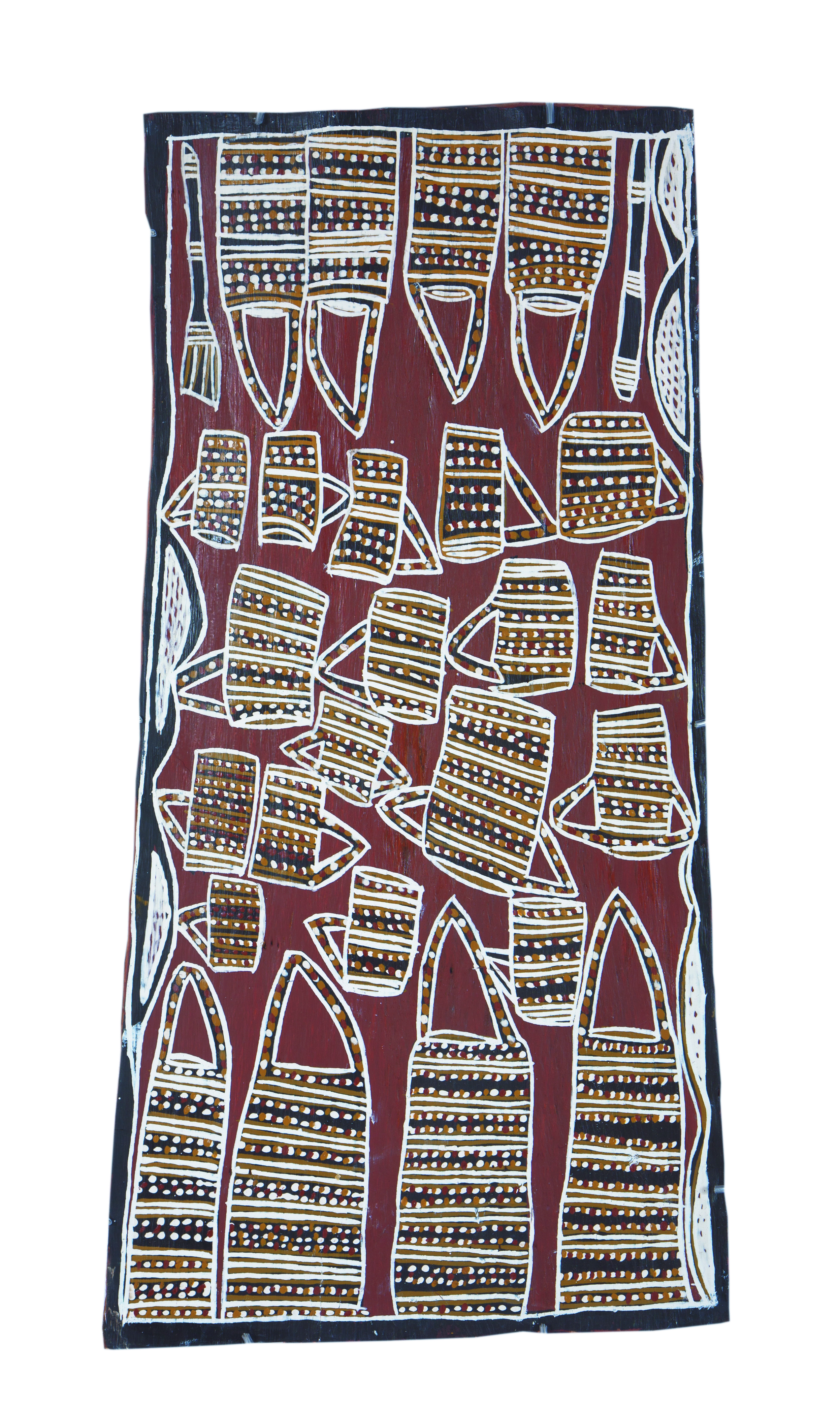 Nonggirrnga Marawili  Dilly Bags & Teacups  Natural earth pigments on bark 85 x 44cm  Buku Larrnggay Mulka #4182C   EMAIL INQUIRY