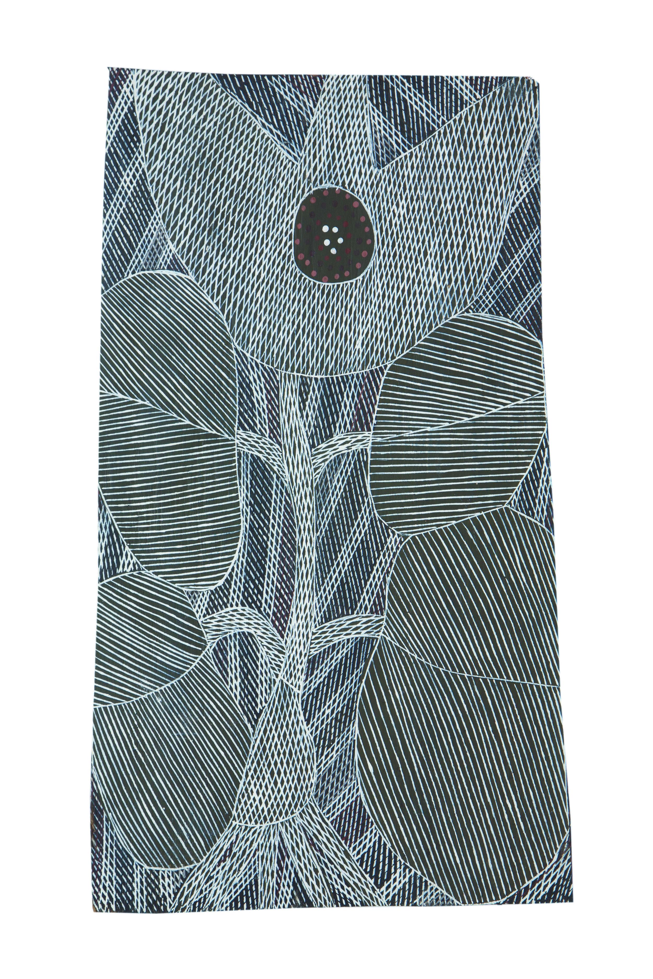 Malaluba Gumana  Dhatam Lily  Natural earth pigments on bark 23 x 17 cm Buku Larrnggay Mulka #4275A   EMAIL INQUIRY