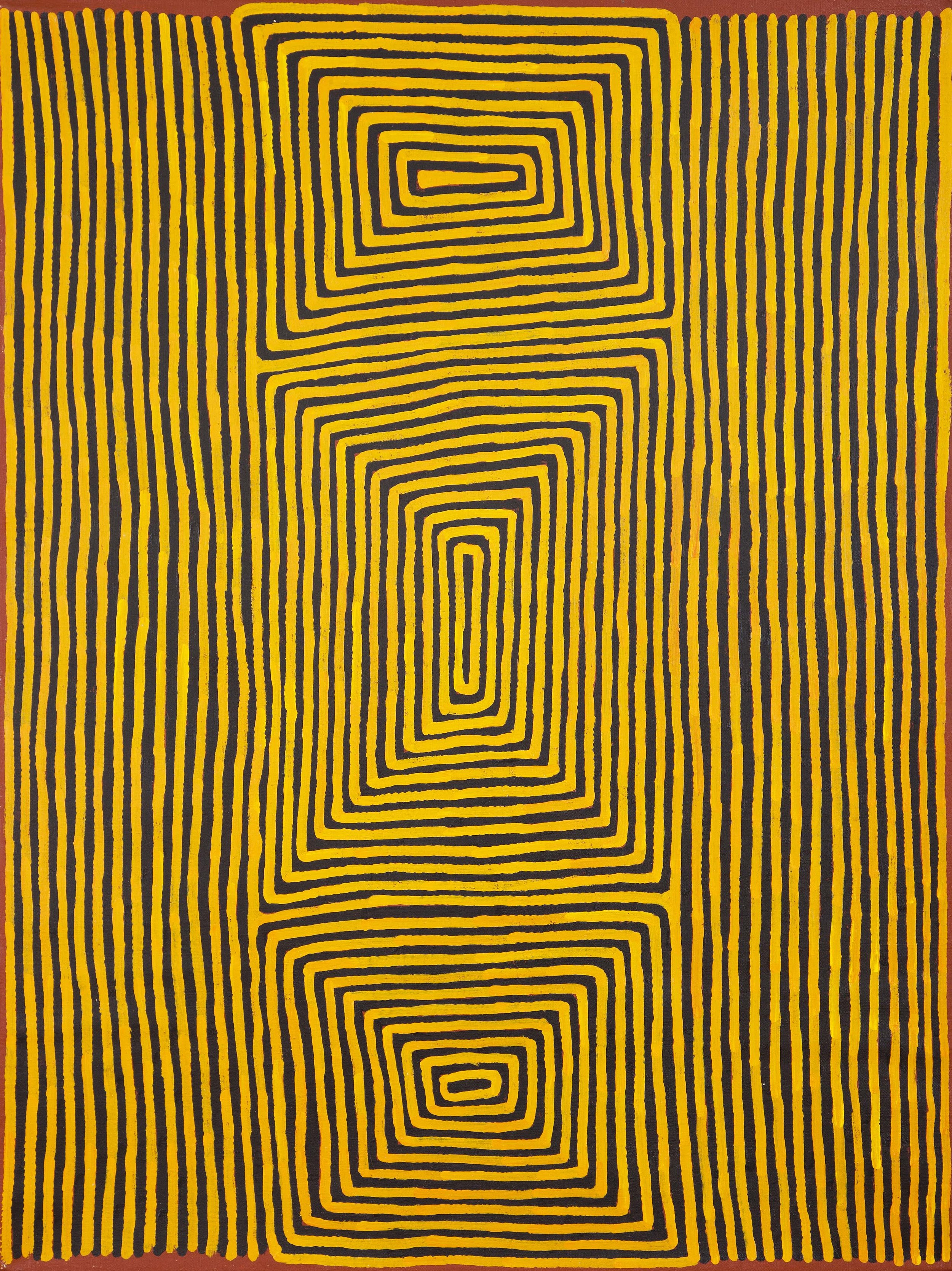 """Ronnie Tjampitjinpa  Perentie Dreaming at Walungurru, 2013  48"""" x 36"""" (122 x 91 cm)  Acrylic on Belgian linen   EMAIL INQUIRY"""