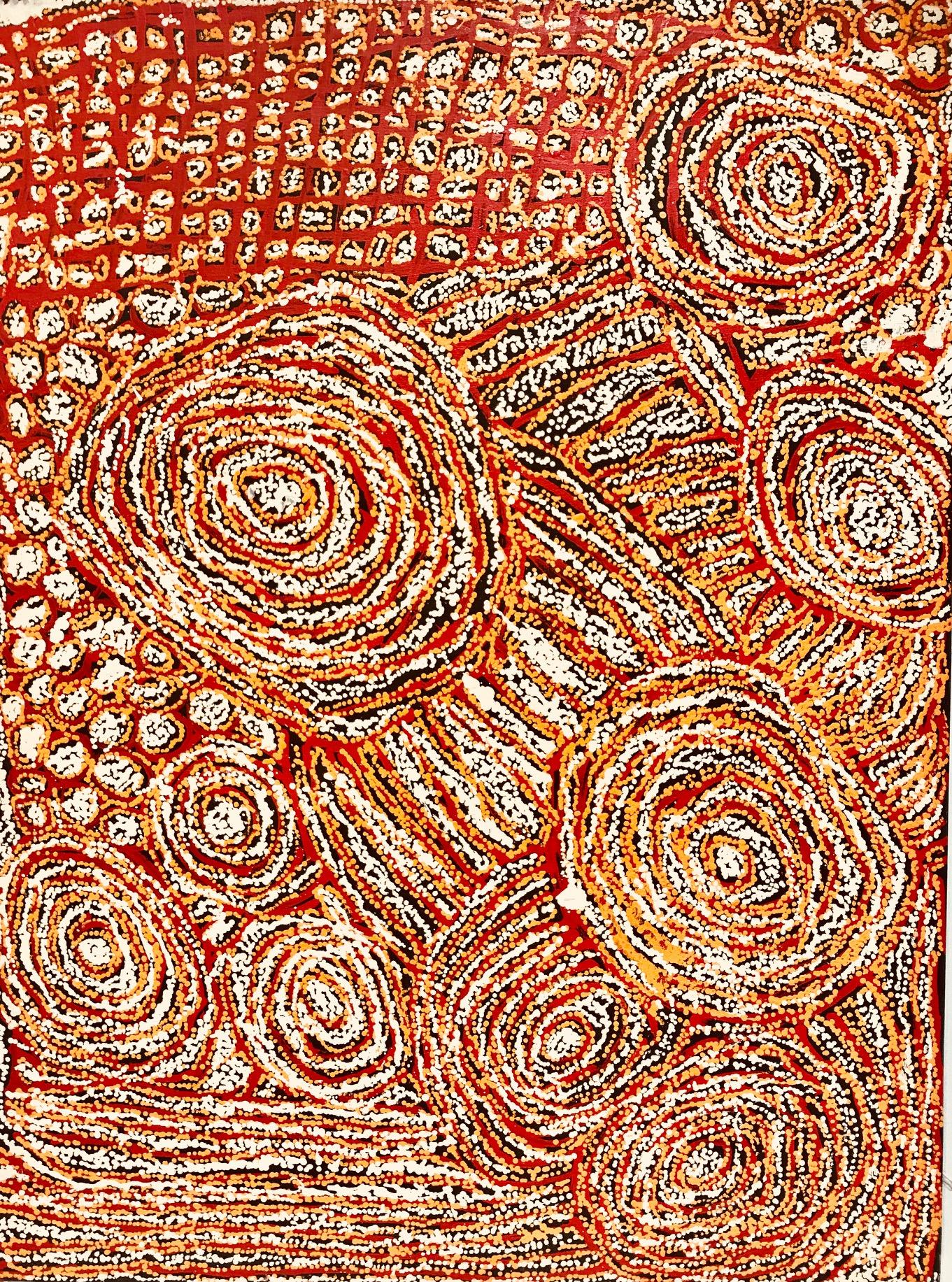 "Walangkura Napanangka  Women's ceremonies at Tjukurla, 2008  48"" x 36"" (122 x 91 cm) Acrylic on Belgian linen Catalog #WN0812105   SOLD"