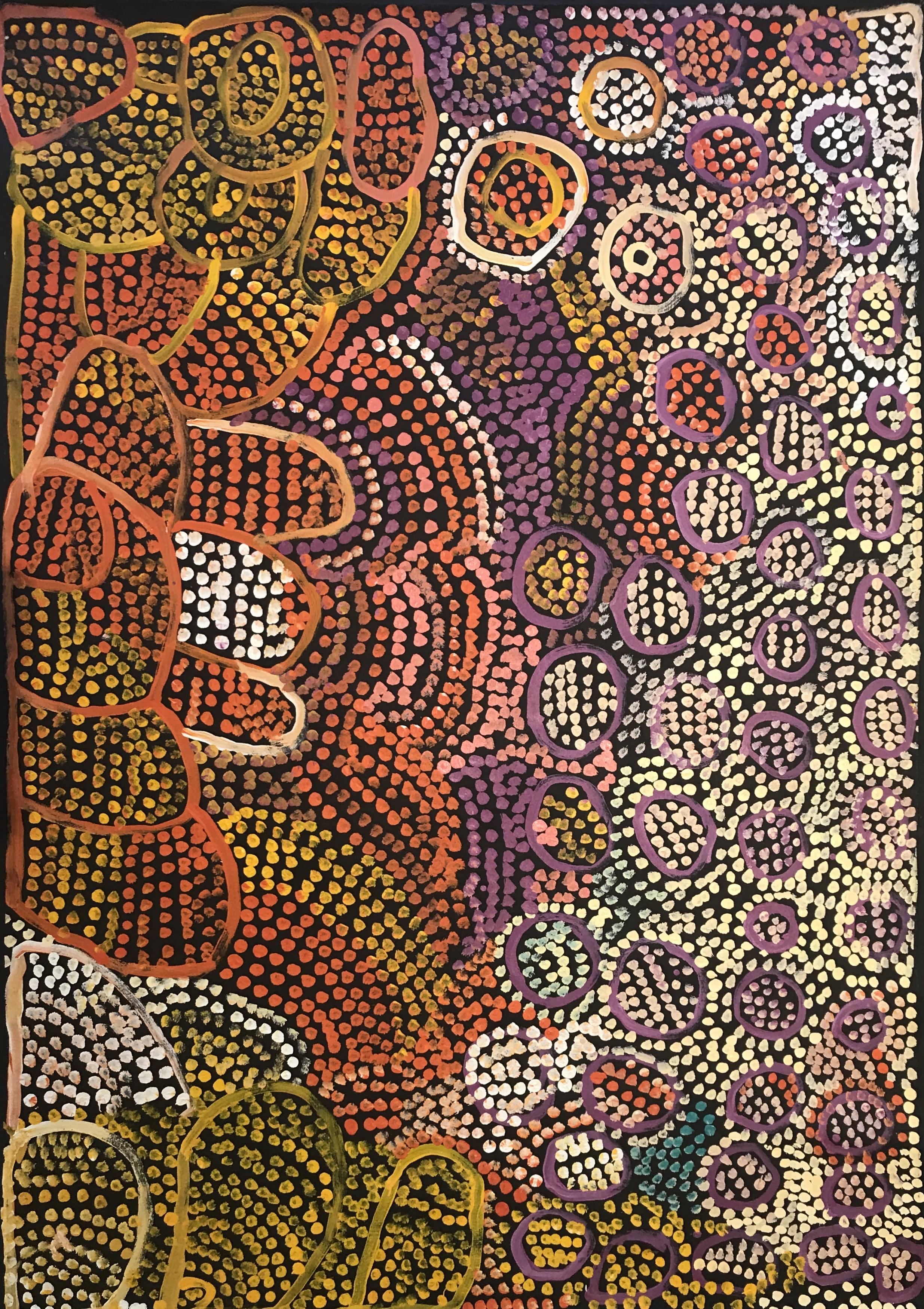 Milatjari Pumani  Ngura Walytja, Antara  59 x 42 inches (152 x 106cm)  acrylic on linen Mimili Maku Arts Catalog #358-12   EMAIL INQUIRY