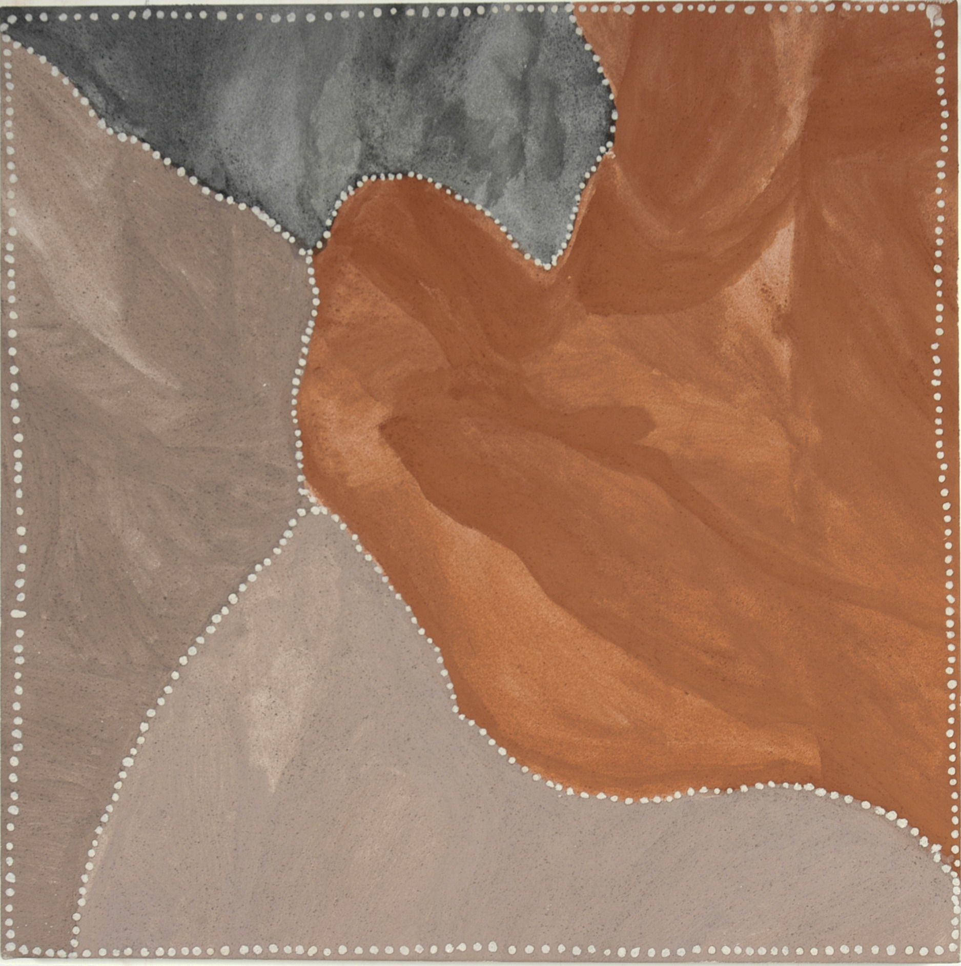 "CHURCHILL CANN   Red Butte, 2009  Natural earth pigment on canvas 31.5 x 31.5"" (80 x 80cm)  Warmun Catalog #201/09   EMAIL INQUIRY"