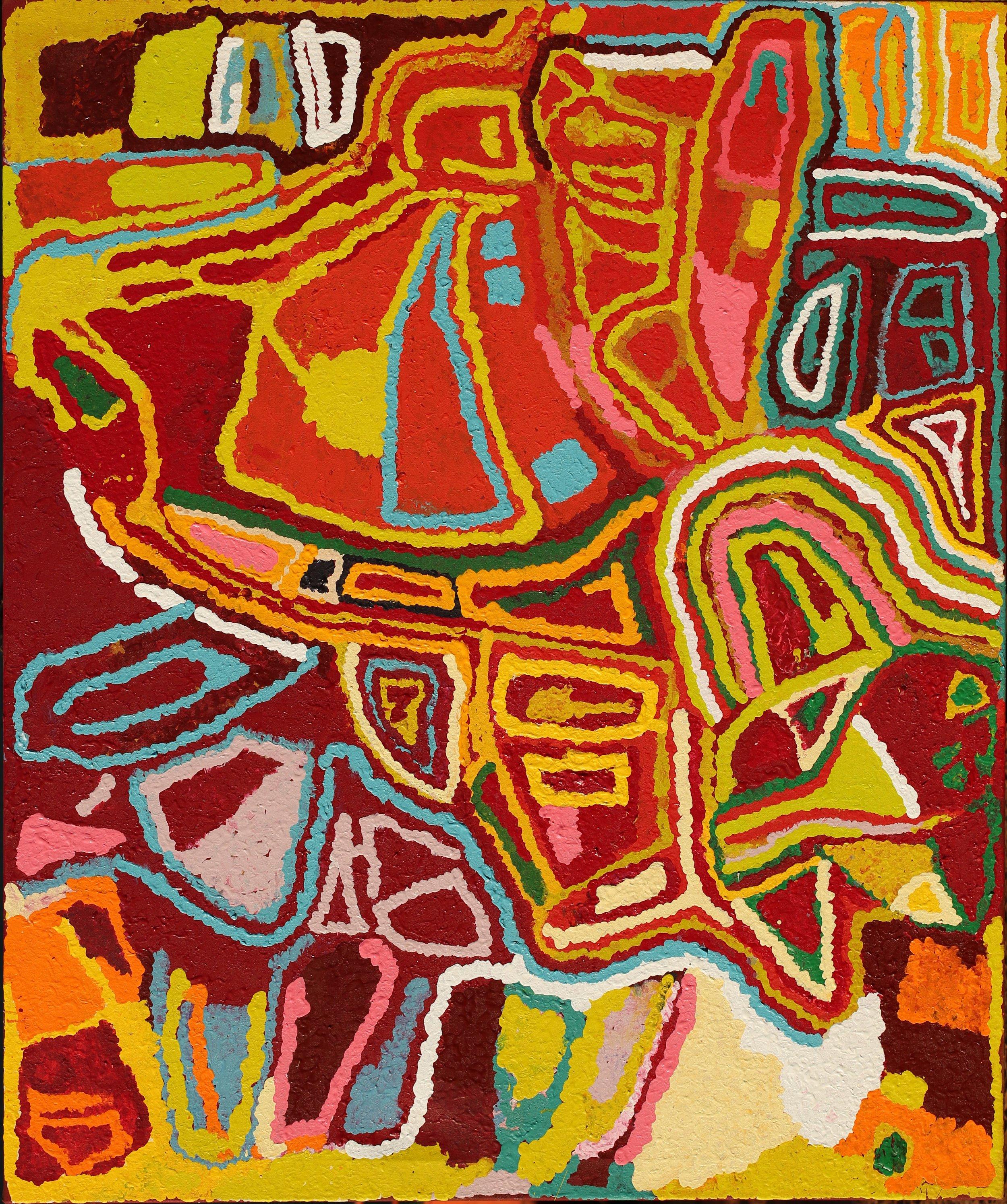 """MABEL WAKARTU  Yirajarra  Acrylic on canvas 60'""""x 70"""" (152 x 183 cm) Martumili Arts Catalog #14-69   EMAIL INQUIRY"""