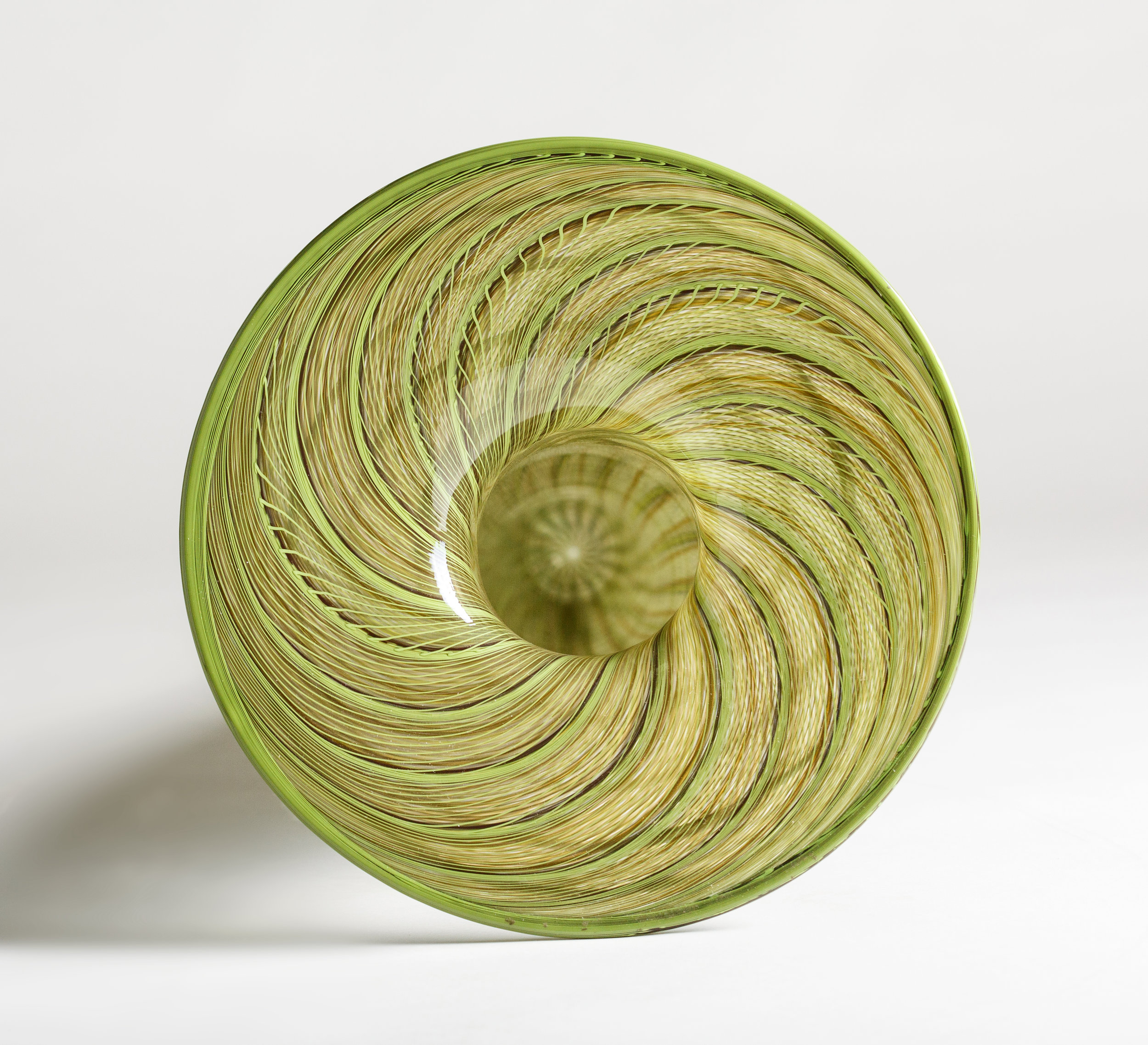 Jenni Kemarre Martiniello  Medium Green Reeds Eel Trap #4  - hot blown glass with canes, 28 x 95 x 28 cm, 2015   EMAIL INQUIRY