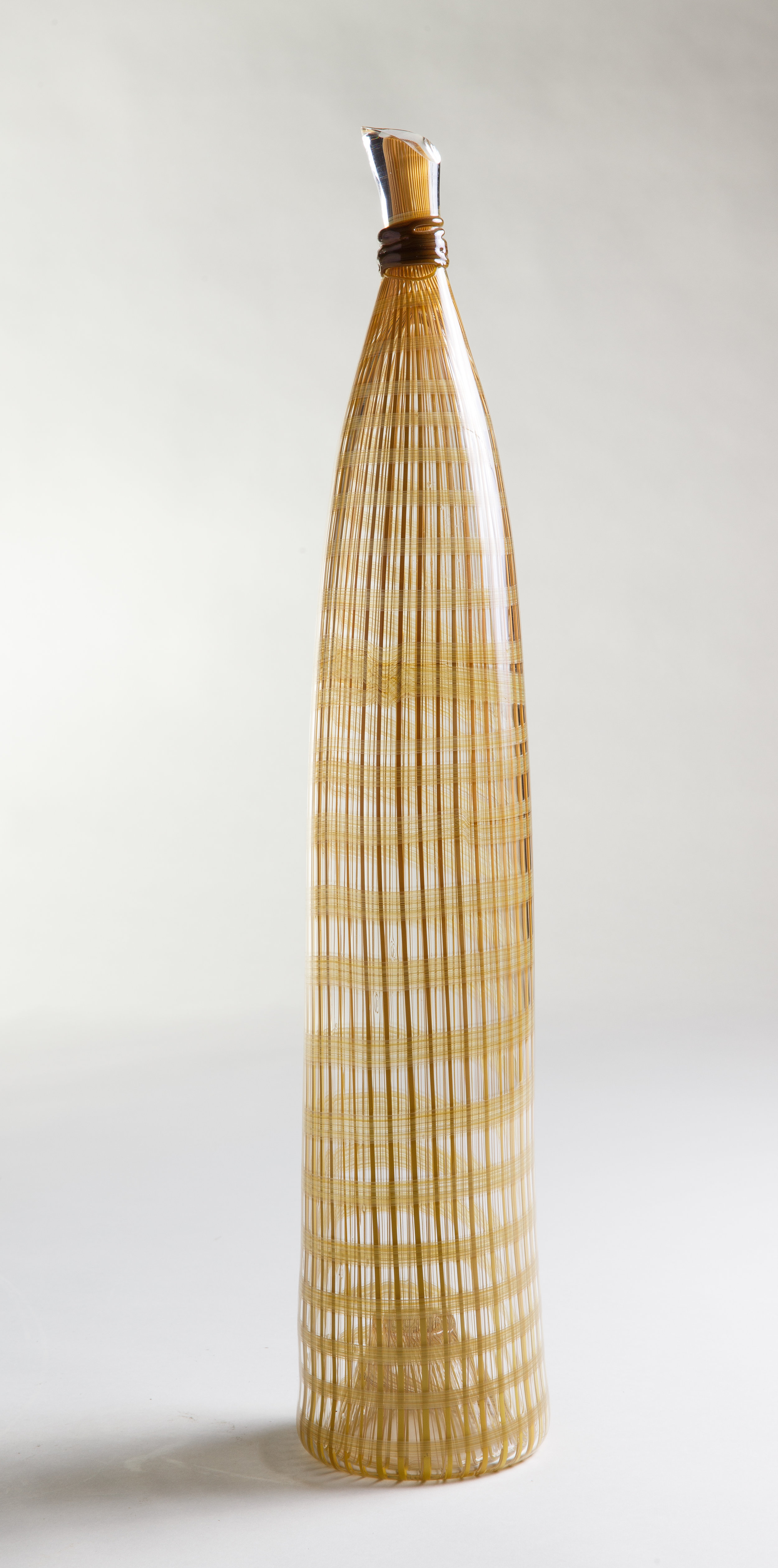 Jenni Kemarre Martiniello  Medium Golden Canes Fish Trap #1  - hot blown glass with canes, 12.5 x 61 x 12.5 cm, 2017   EMAIL INQUIRY
