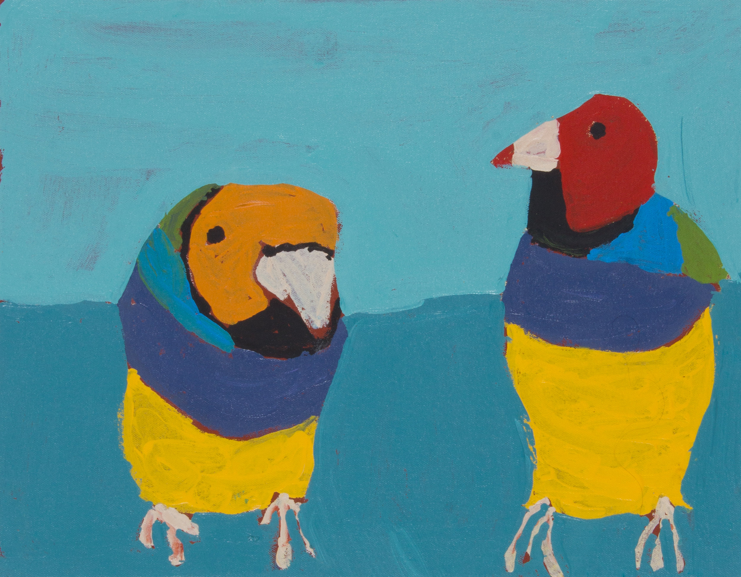 Nyangulya Katie Nalgood  Love Birds  35.5 x 45.5 cm acrylic on linen Spinifex Hills Artists Catalog #18-809  SOLD