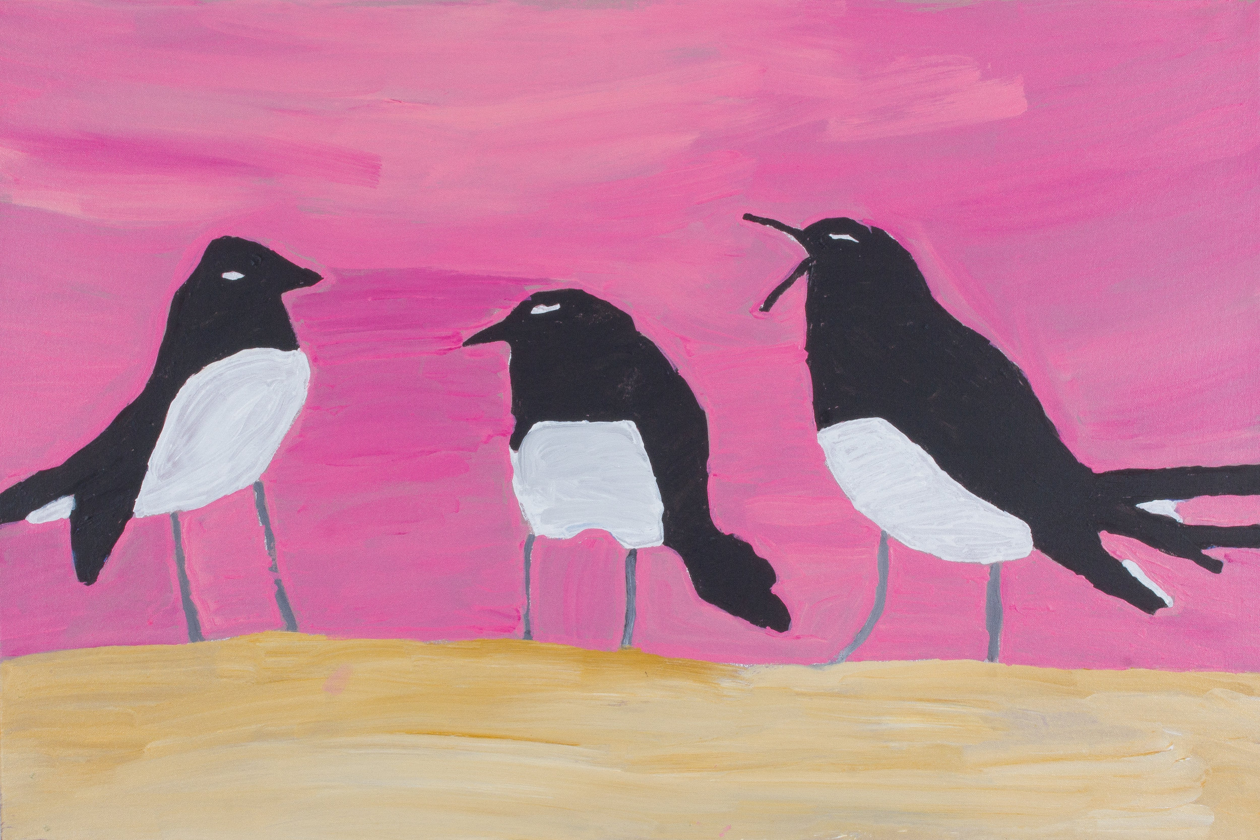 "Nyangulya Katie Nalgood  Willy Wagtail  24 x 36"" (61 x 91 cm) acrylic on linen Spinifex Hills Artists Catalog #18-481  SOLD"