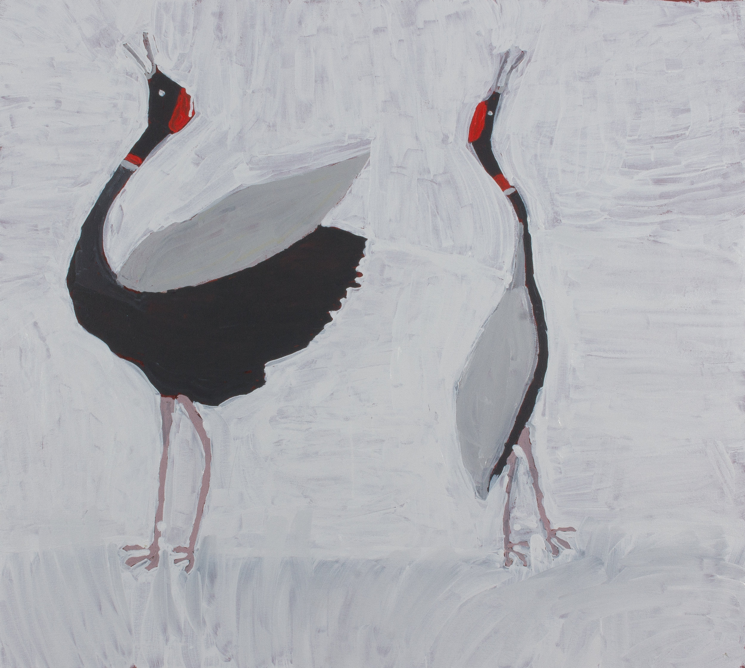 "Nyangulya Katie Nalgood  Brolga's Dancing  36 x 36"" (91.5 x 91.5 cm) acrylic on linen Spinifex Hills Artists Catalog #18-177  SOLD"