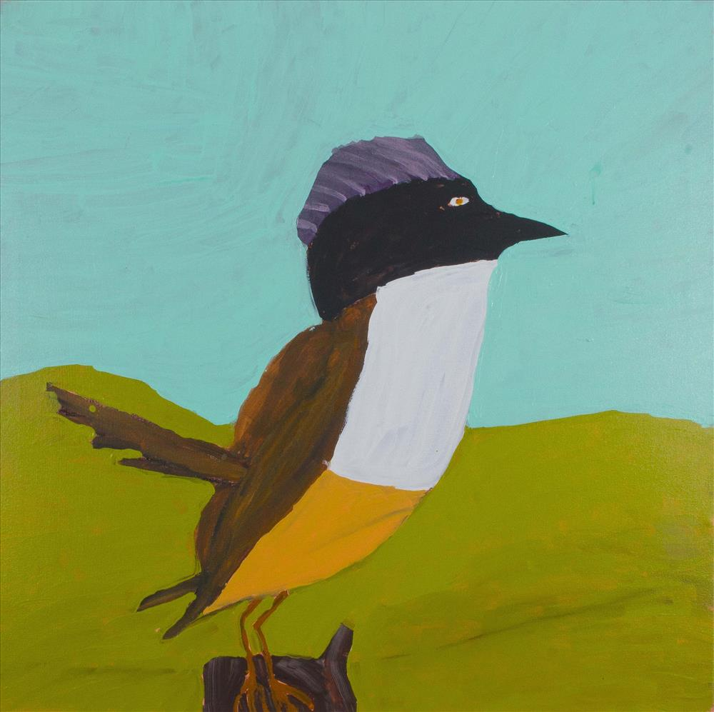 "Nyangulya Katie Nalgood  Purple Crowned Fairy Wren  36 x 36"" (91.5 x 91.5 cm) acrylic on linen Spinifex Hills Artists Catalog #18-192  SOLD"