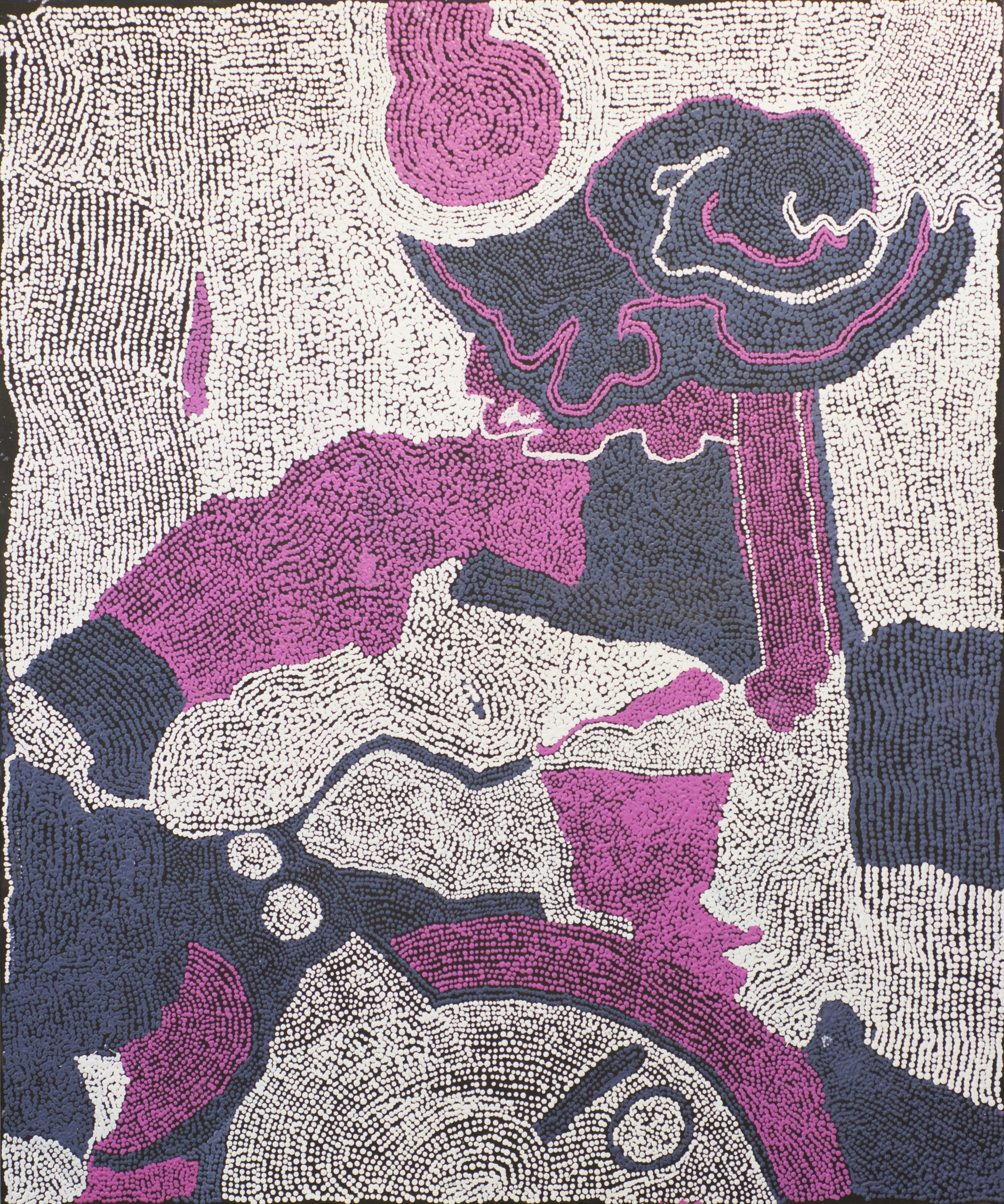 "Esther Giles  Kuruyurltu- Esther  Acrylic on canvas 58"" x 70.5"" (148cm x 179cm) Tjarlirli Art Center Catalog #15-387   EMAIL INQUIRY"