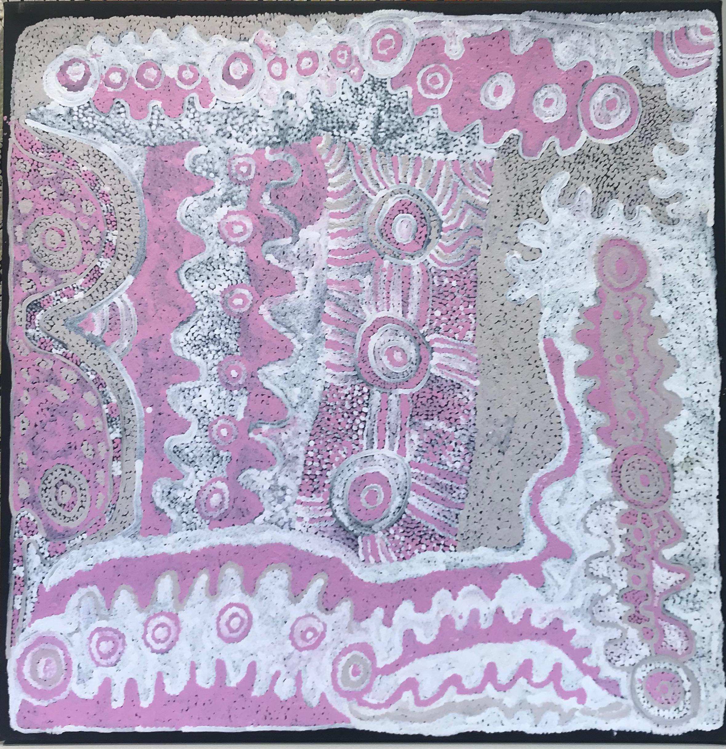 "Pantjiti Lionel  Malara  Acrylic on canvas 39"" x 39"" (100 x 100 cm) Ernabella Arts Catalog #58-13   EMAIL INQUIRY"