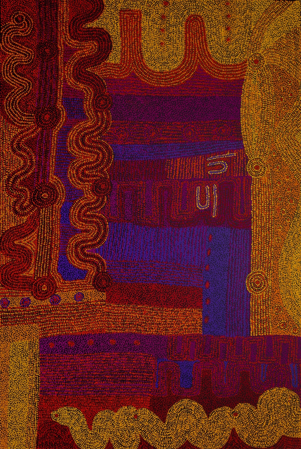 Alison Munti Riley Tjitji Kutjara (Two Children) 48 x 72 inches (122 x 172cm) acrylic on canvas Ernabella Arts Catalog #49-14   ENQUIRE