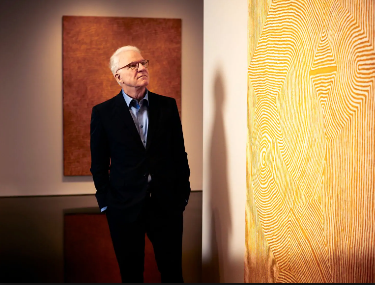 Over the past few years, comedian Steve Martin, shown at the Gagosian Gallery this month in New York, has found inspiration in Aboriginal art. (Rick Wenner/For The Washington Post)
