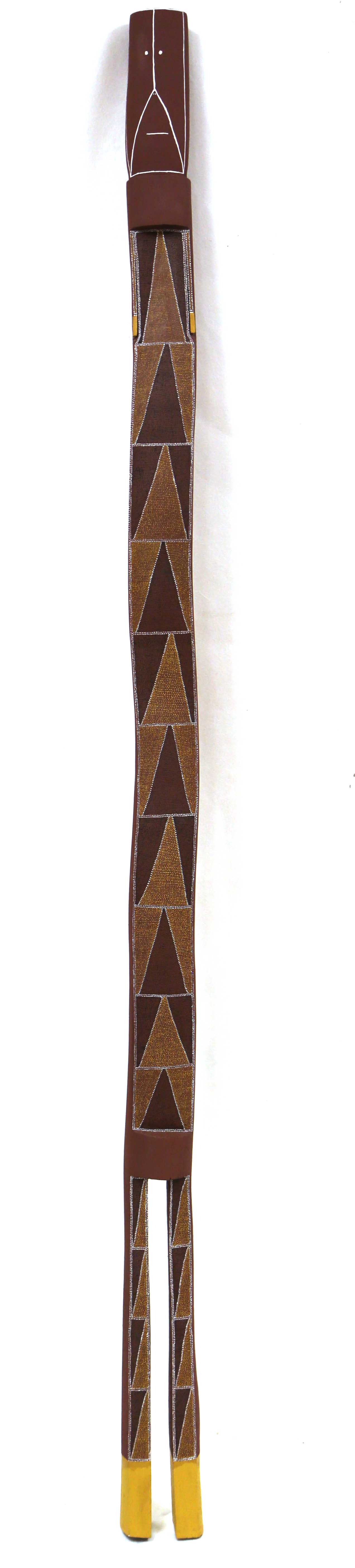 Sonia Namarnyilk  Mimih Spirit  Natural pigment on carved ironwood 176 x 10 x 6cm Maningrida Catalog #3129-18  EMAIL INQUIRY