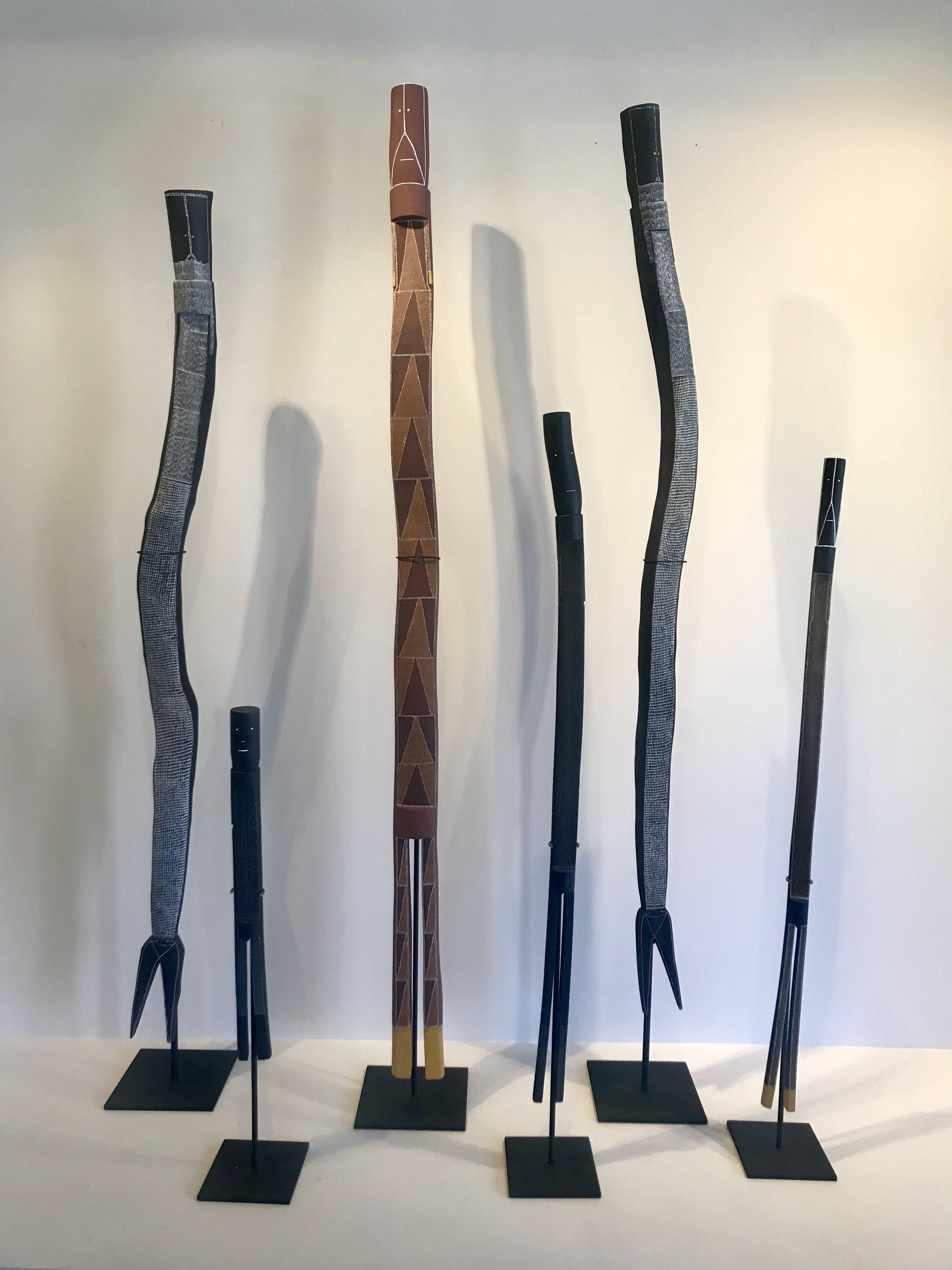 Installation L - R:  Owen Yalandja #3125-18, Don Djorlom #96-18, Sonia Namarnyilk #3129-18, Don Djorlom #1135-19, Owen Yalandja #96-19, Sonia Namarnyilk #987-19