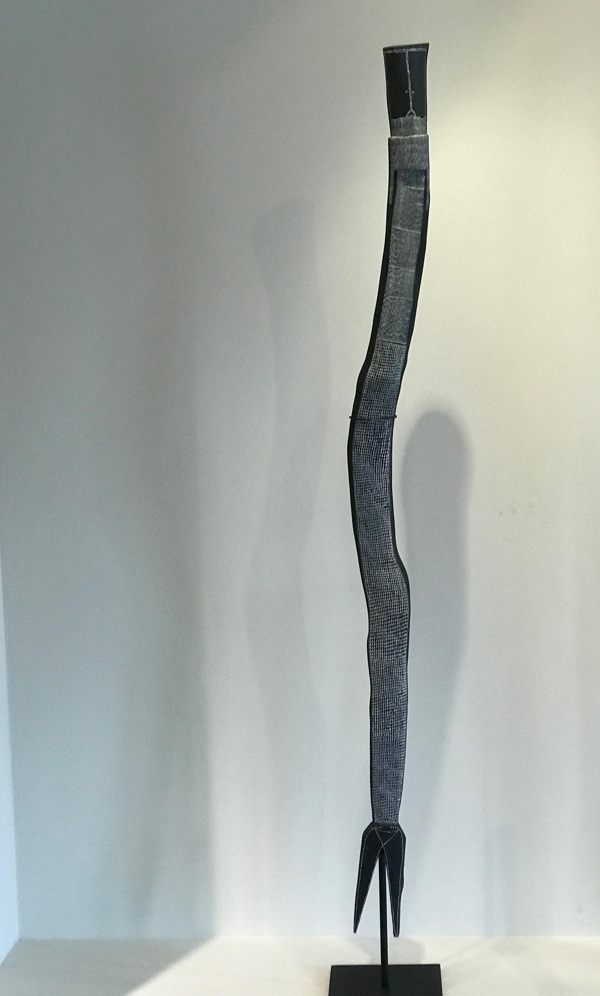 Owen Yalandja  Ngalkodjek Yawkyawk   Natural pigment on carved ironwood 162 x 6.5x 6cm Maningrida Catalog #96-19  SOLD
