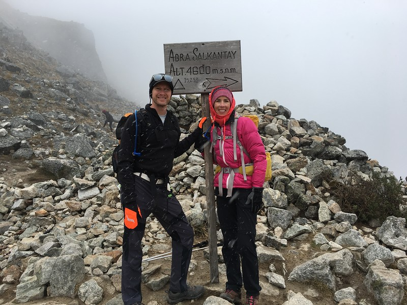 Top of Salkantay Pass and our highest elevation of the trek (15,000+ feet)