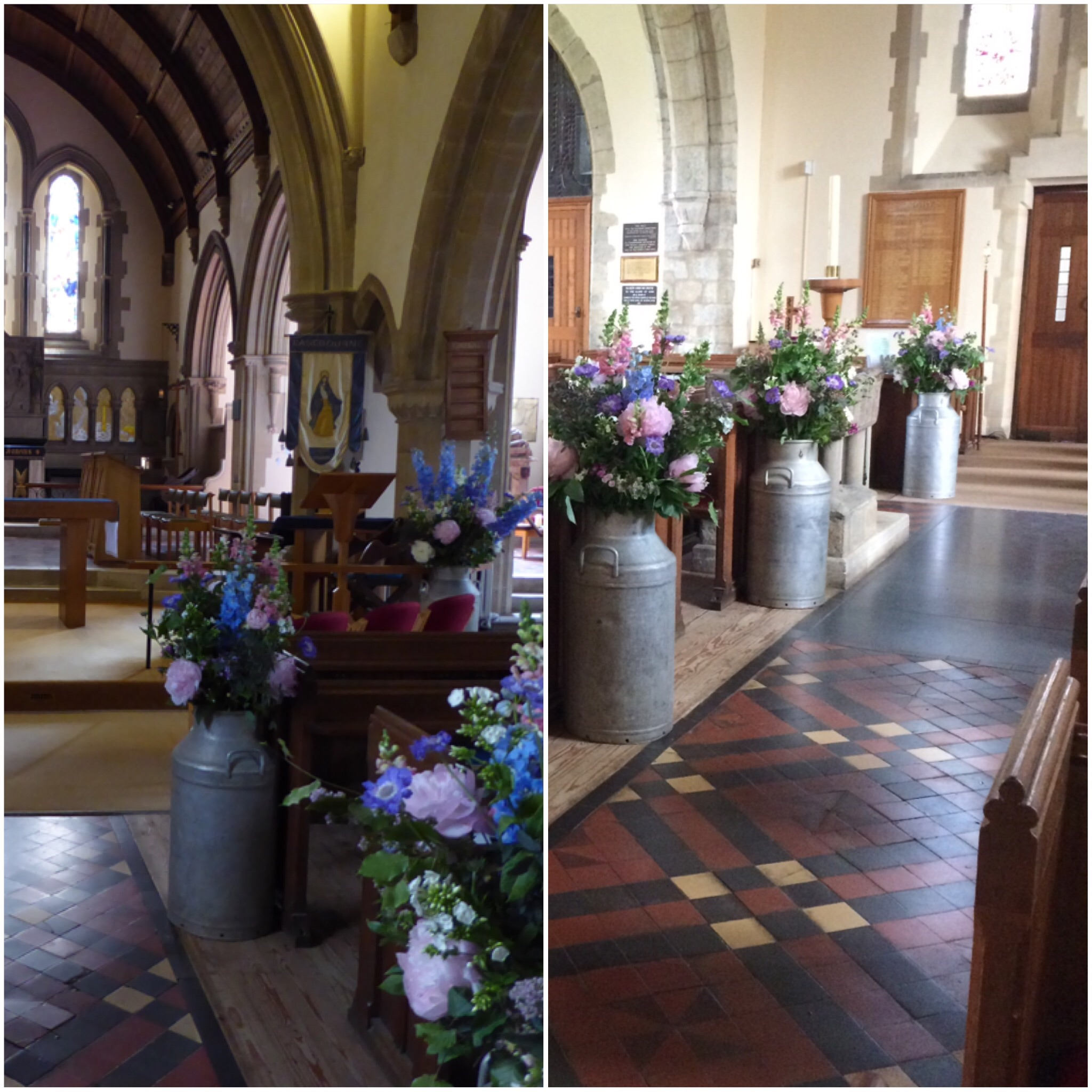 Milk Churns down the Aisle of St Mary's