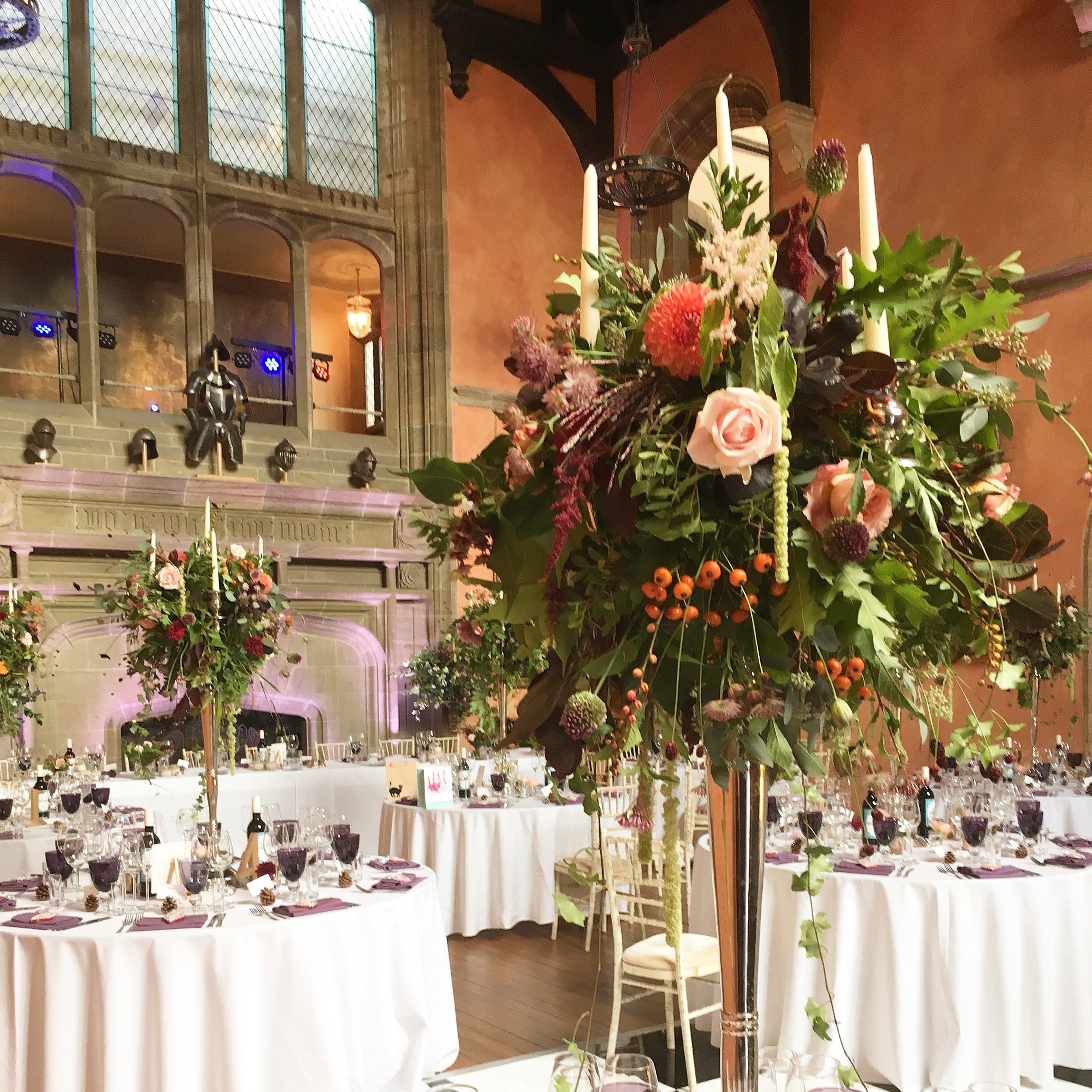 The wedding reception in Buck Hall, Cowdray House, Midhurst, West Sussex