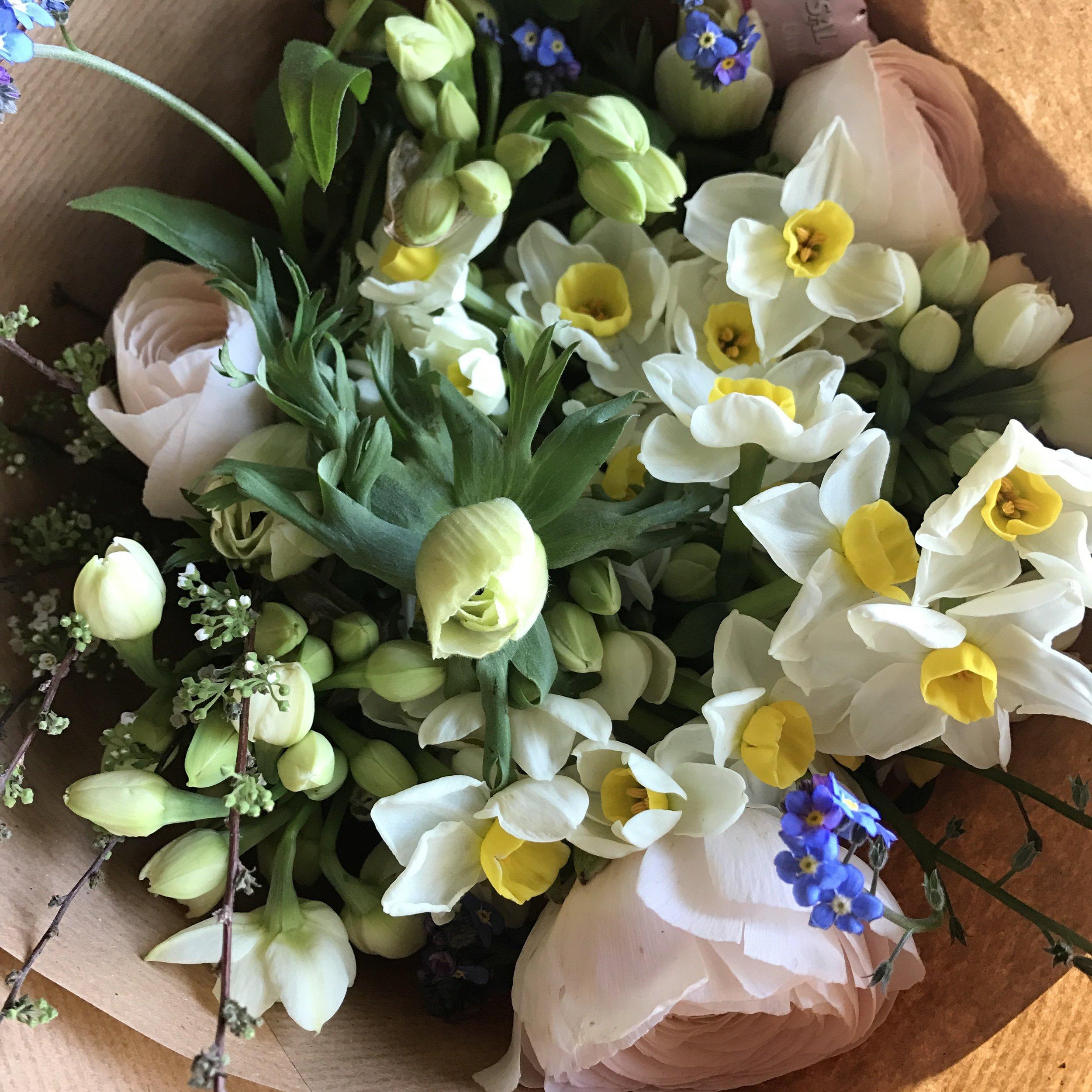 Scented narcissi, ranunculus, anemones