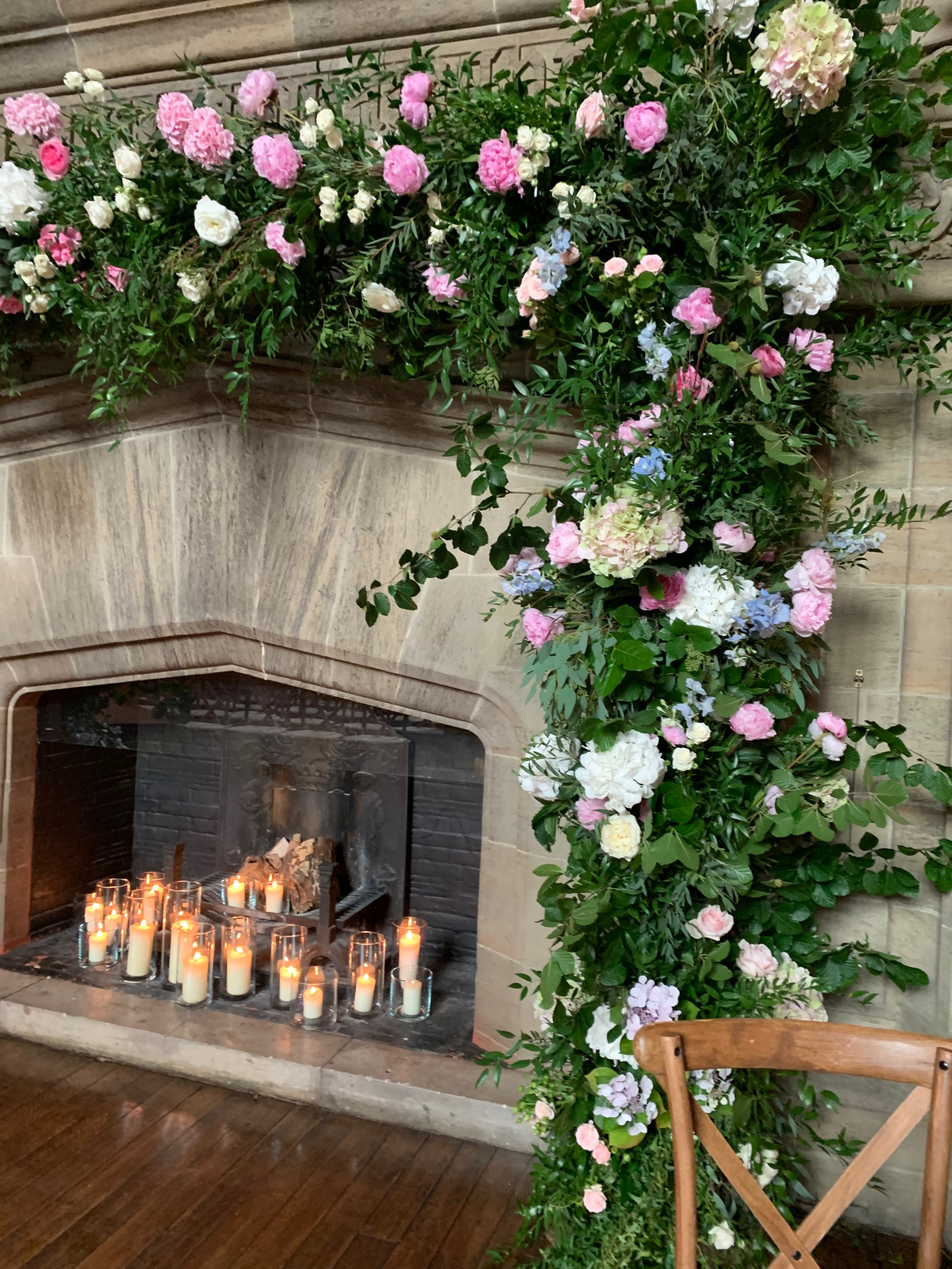 Fireplace flowers made without floral foam
