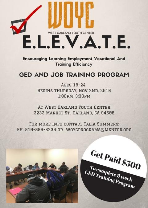 ELEVATE: GED preparation and job skills training program