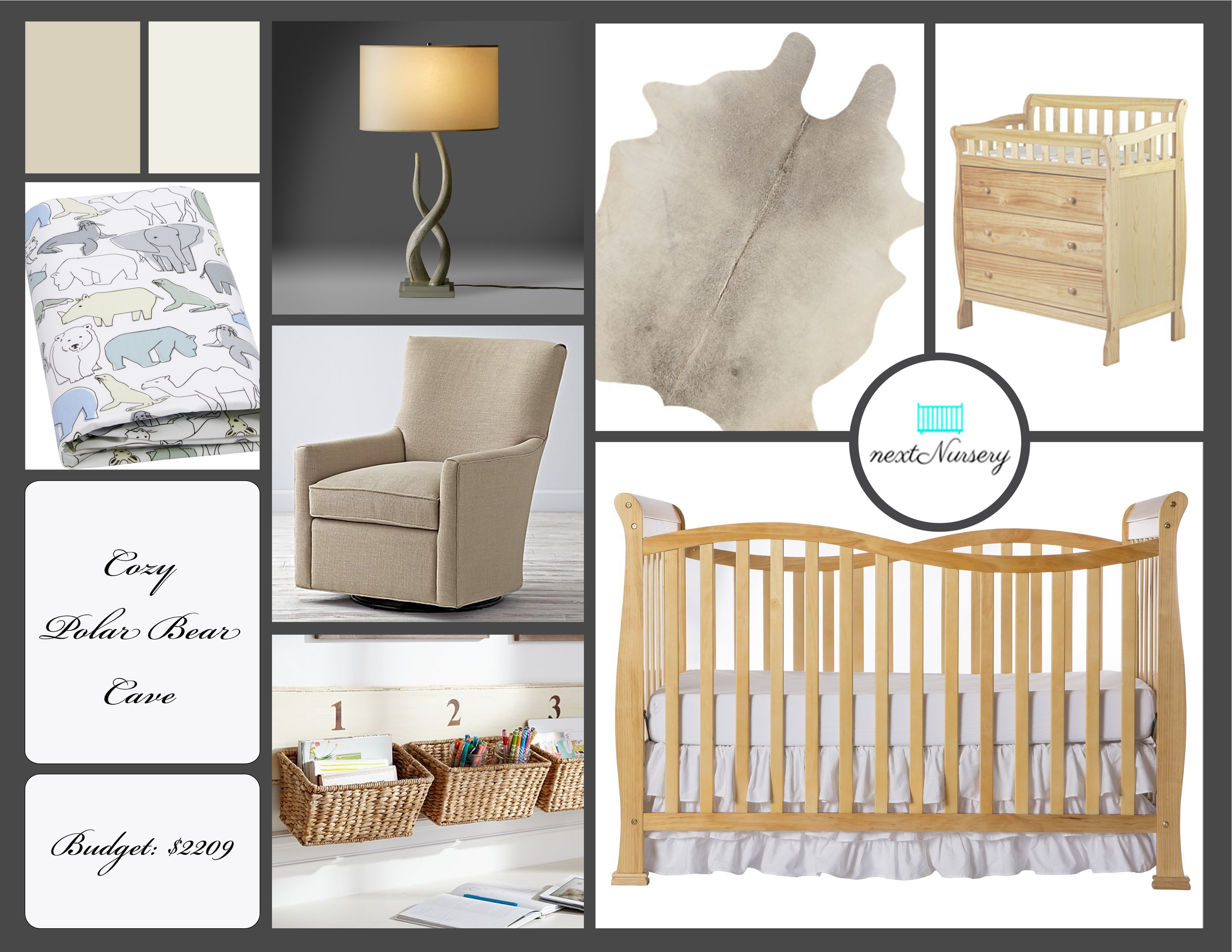 COZY POLAR BEAR NURSERY      This room has a neutral, cozy feel with natural wood colors that will help your baby relax in your arms every day.