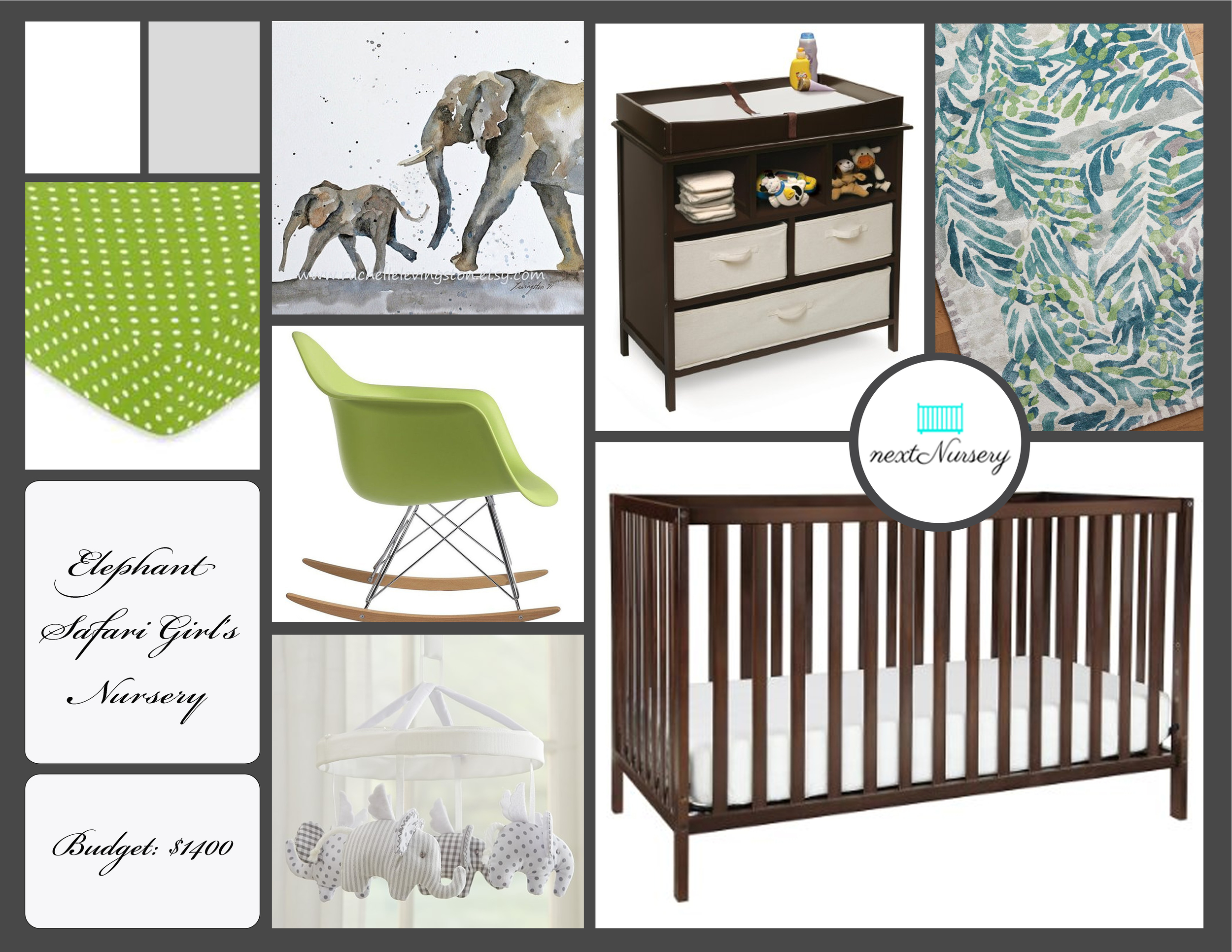 Elephant Safari Baby Girl Nursery