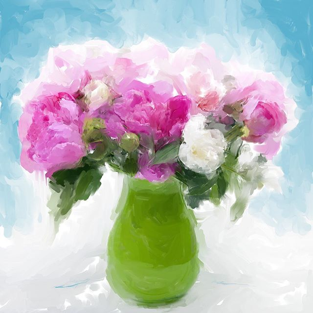 Lovely pink peonies, a recent digital painting by Christina Stefani.  Swipe to see detail and how beautiful the print looks hanging on a wall.  #flowerart #homedecor #artcollector #salemor #stefanifineart #fineartprints #limitededitionprints #oregonartist