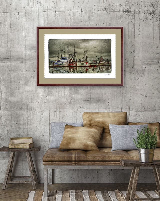 "New release: Richard's striking image titled ""Stormy Afternoon – Newport Oregon"" is now available. Bring the unique feel of the Oregon fishing lifestyle to your home or office.  Enjoy 20% off with code: NEW1019 (until 10-26) Choose yours now (link in bio)  Art prints start at $65. Framed Special Limited Edition (shown here) $800.  #oregonart #artgallery #newportoregon #oregoncoast #homedecor #artprints #artprintsforsale #salemoregon #oregonartist"