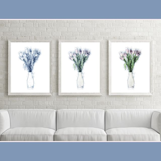 A trio of tulips to brighten your day.... It's dreary and rainy here in Oregon. Enjoy! (Tulip triptych by Christina Stefani, sold)  ____________________________________________ #flowerart #homedecor #artcollector #fineartprints #livingroomart #pacificnorthwestartist #insalemoregon #interiordesign #interiorstyle #salemoregonartist #interiorandhome #artprints