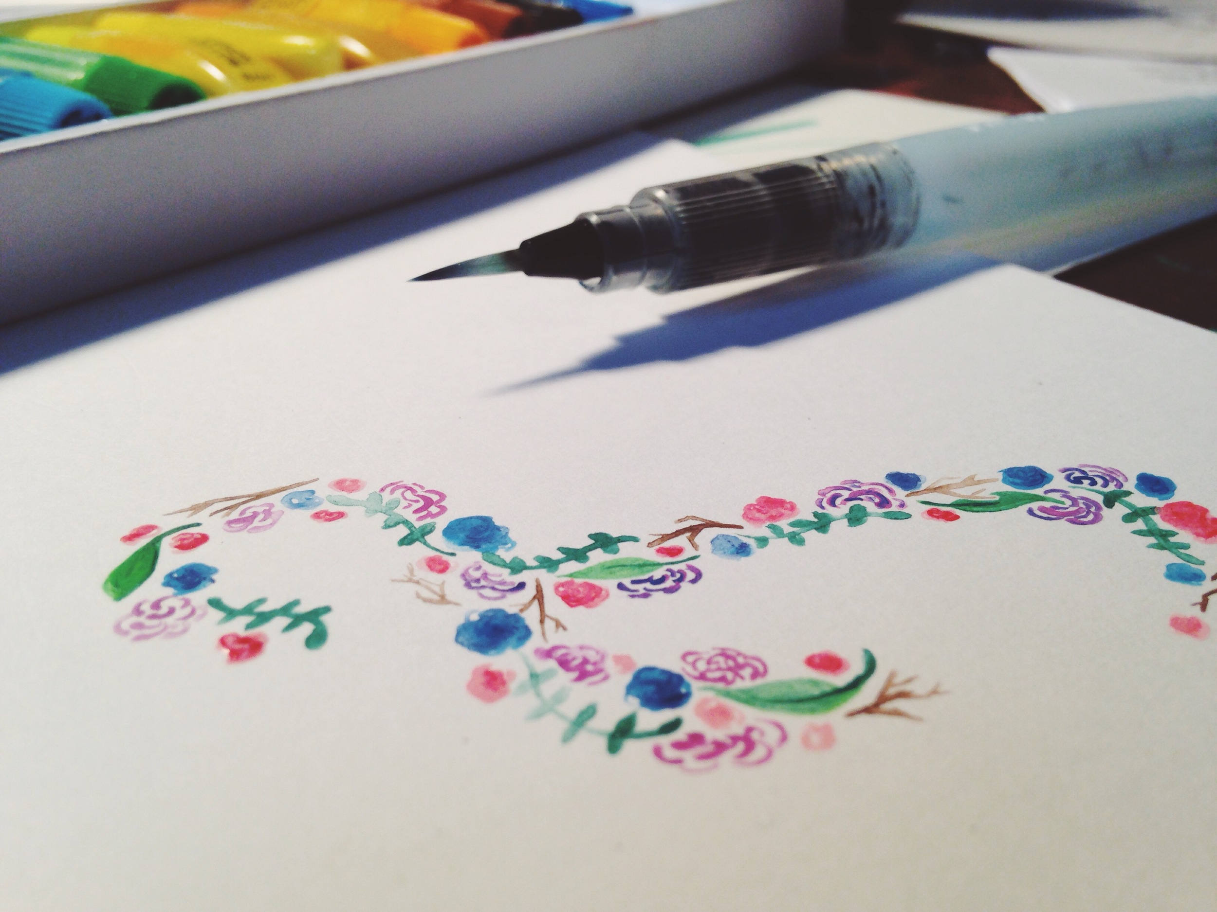 Beginning stages of Jenn's logo--watercolored florals :)