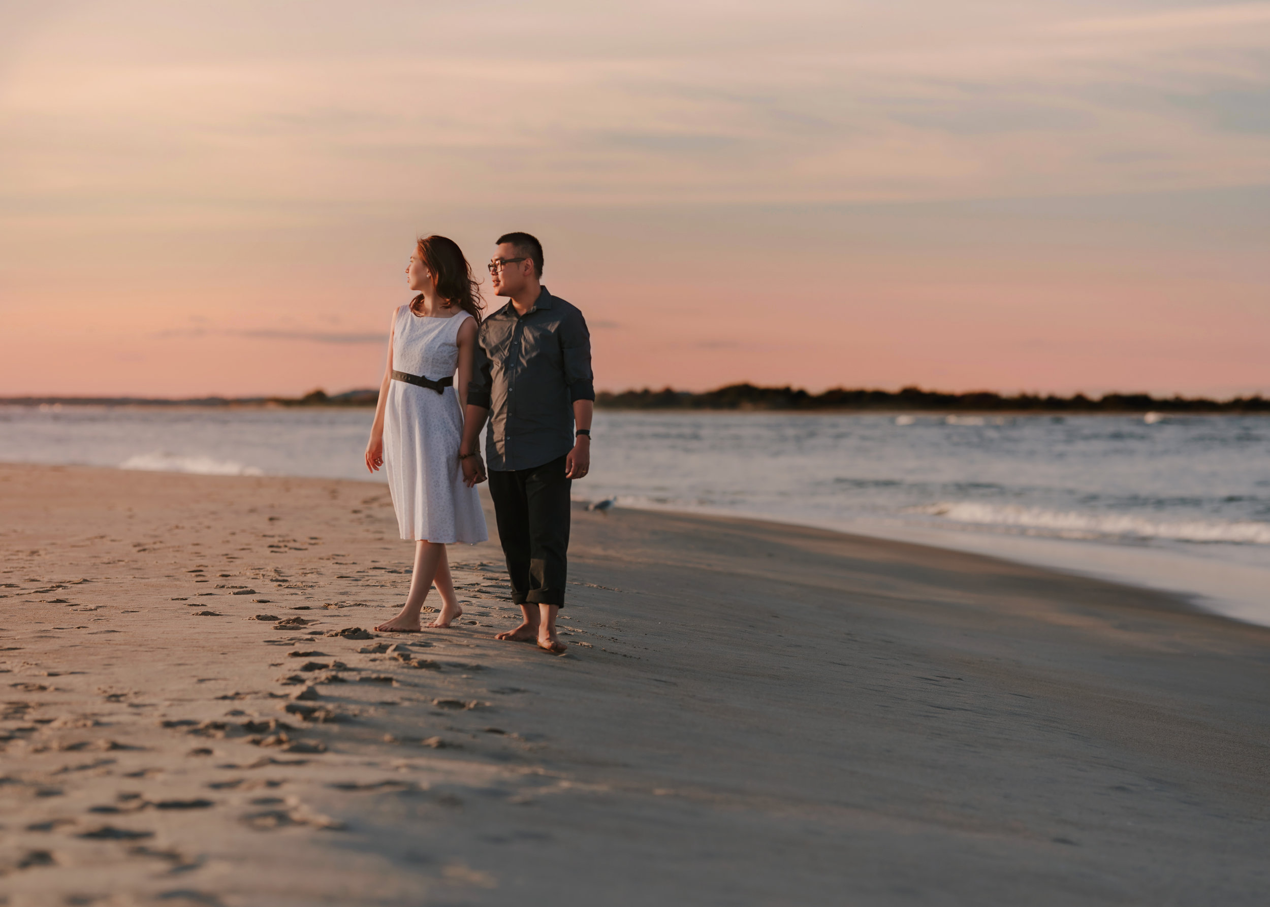 Beautiful and Natural Unposed Engagement Portrait Photos at Crane Beach