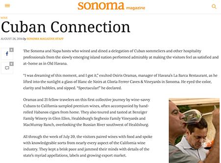 Sonoma Magazine Article