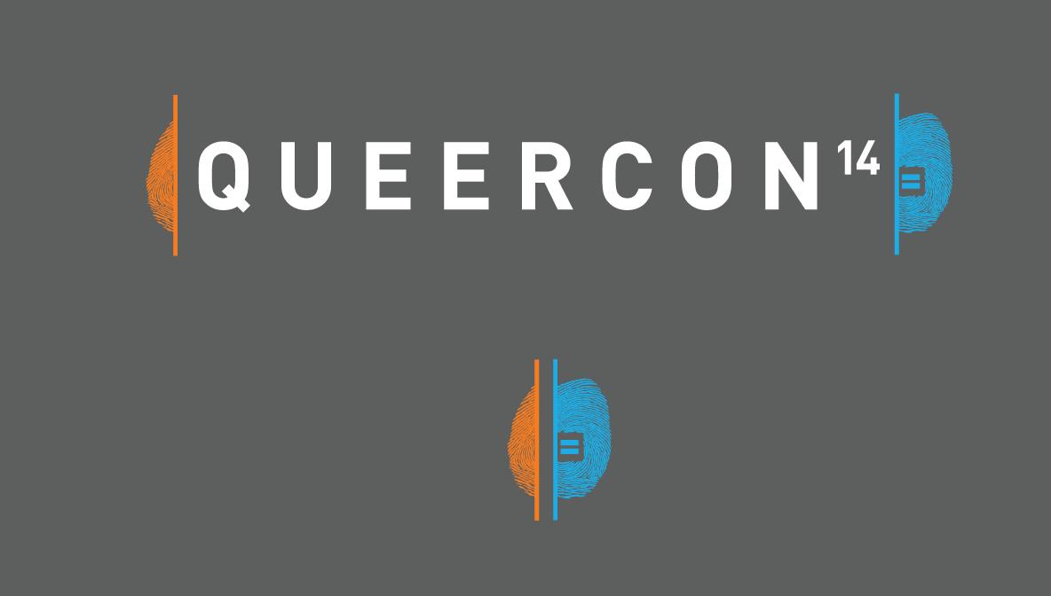 Queercon's logo included a big nod to Portal 2.