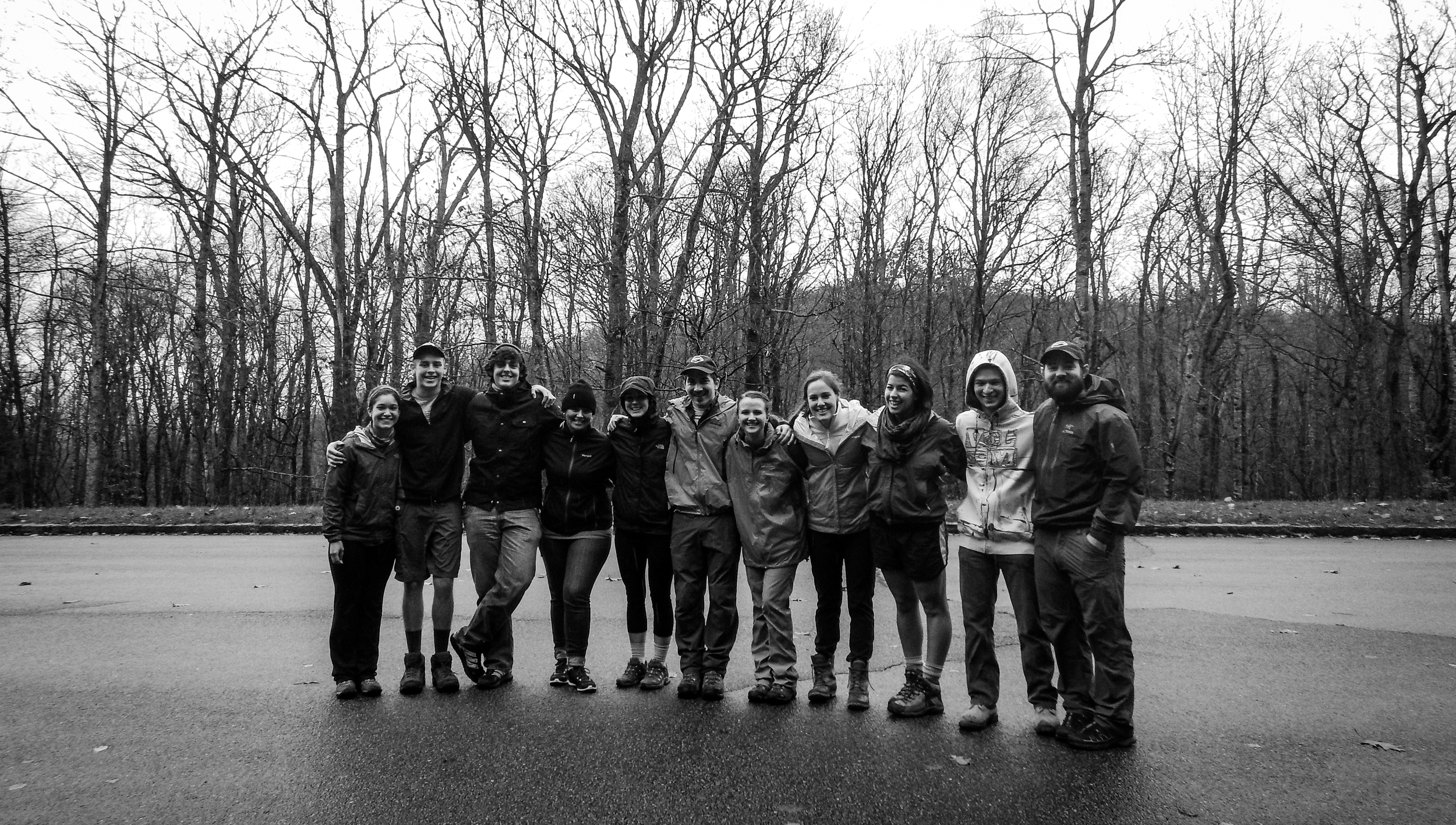 This is the crew that started the celebration with us, braving the chill and the rain to help clear some trail of unsightly trash; We commend this group for bringing joyful hearts to do some dirty work. (left to right: Maria, Jason, Jacob, Jill, Emma, Leif, Annabeth, Maddy, Hannah, Parker, and Tom)