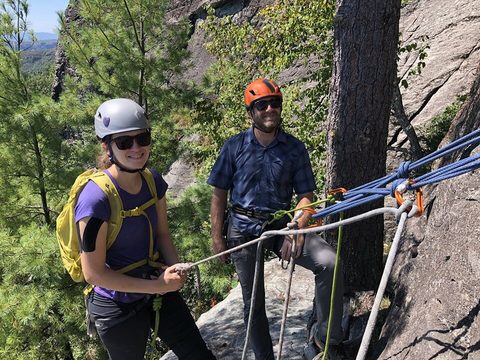 Jewel and Jesse hone in their climbing skills in the multi-pitch environment.