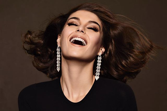 Happy Friday!  Gorgeous George @gigimidgley @womenmanagementny with hair by @lucas.a.wilson, makeup by @gracegraceahn, styling by @yessirjesper.  @homeagency @julianwatsonagency #beauty #hair #diamonds #laugh 😂 Thank you @michaelibruno! X